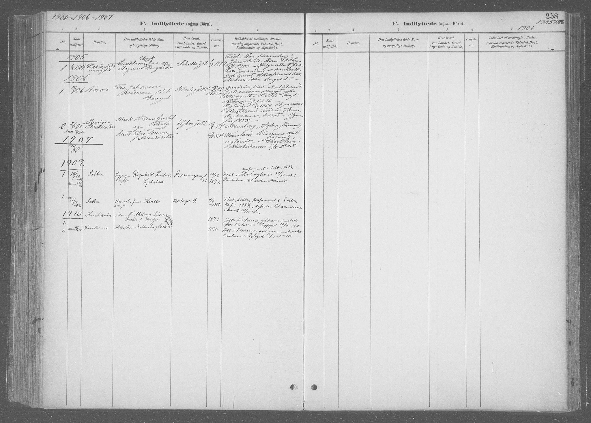 SAT, Ministerialprotokoller, klokkerbøker og fødselsregistre - Sør-Trøndelag, 601/L0064: Ministerialbok nr. 601A31, 1891-1911, s. 258