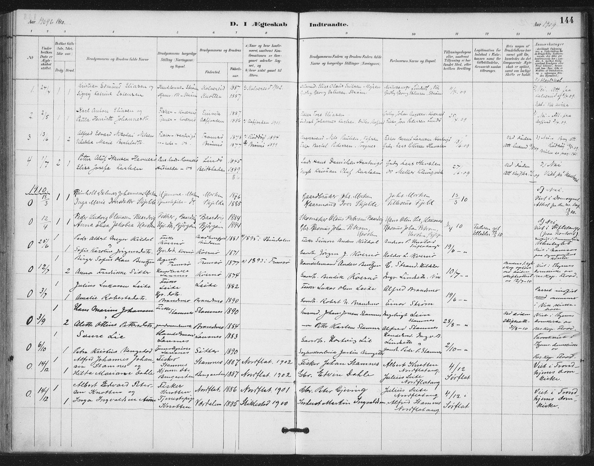 SAT, Ministerialprotokoller, klokkerbøker og fødselsregistre - Nord-Trøndelag, 772/L0603: Ministerialbok nr. 772A01, 1885-1912, s. 144
