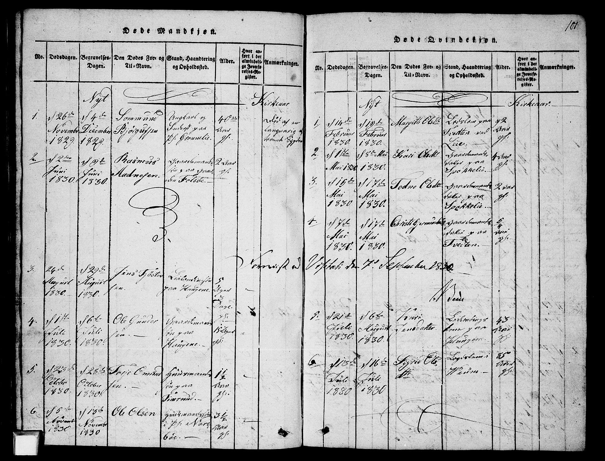 SAKO, Fyresdal kirkebøker, G/Ga/L0003: Klokkerbok nr. I 3, 1815-1863, s. 101