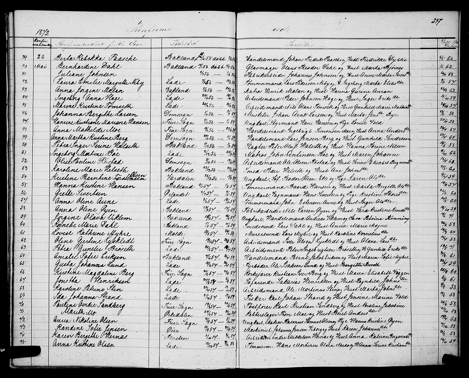 SAT, Ministerialprotokoller, klokkerbøker og fødselsregistre - Sør-Trøndelag, 604/L0220: Klokkerbok nr. 604C03, 1870-1885, s. 247