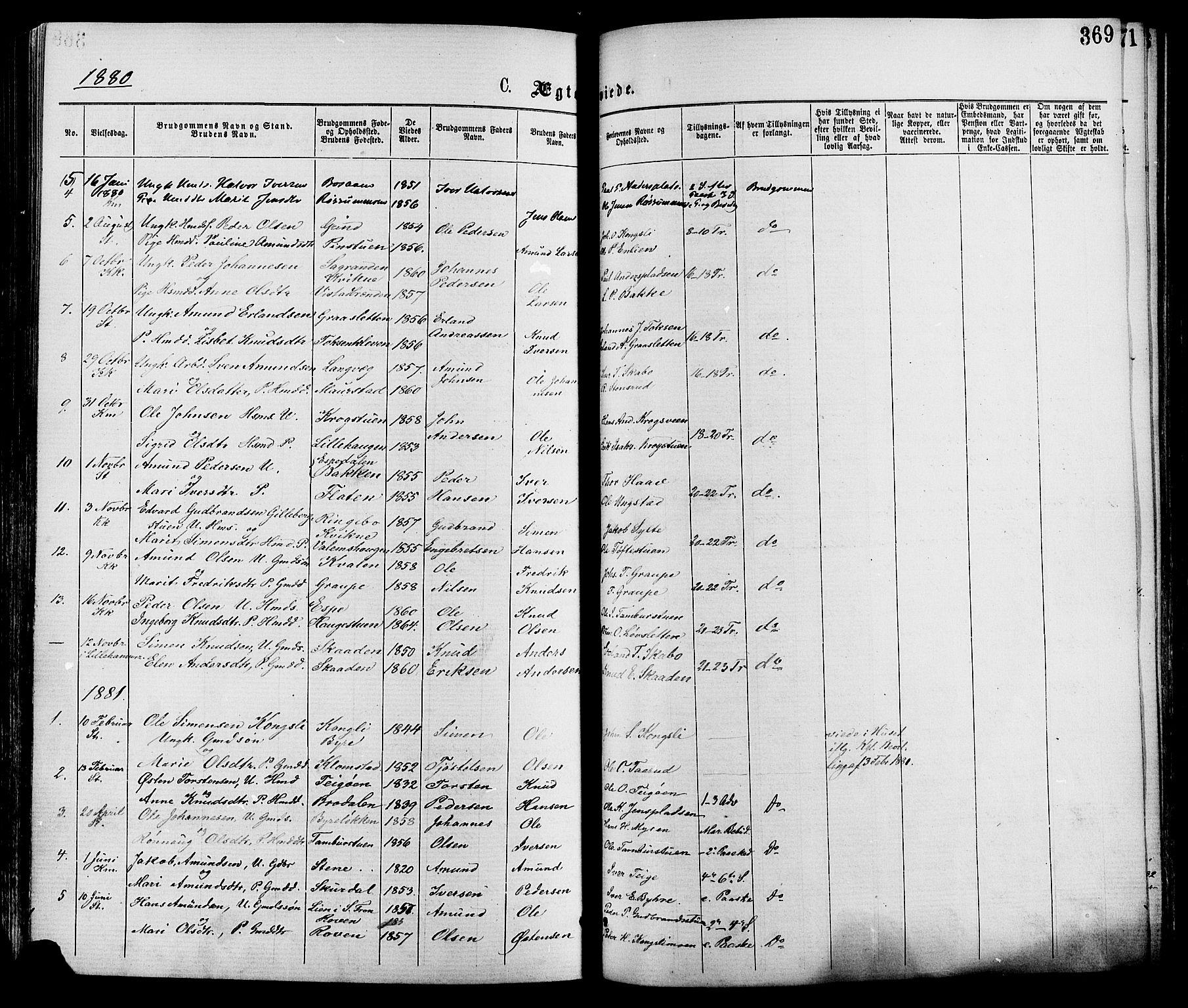 SAH, Nord-Fron prestekontor, Ministerialbok nr. 2, 1865-1883, s. 369