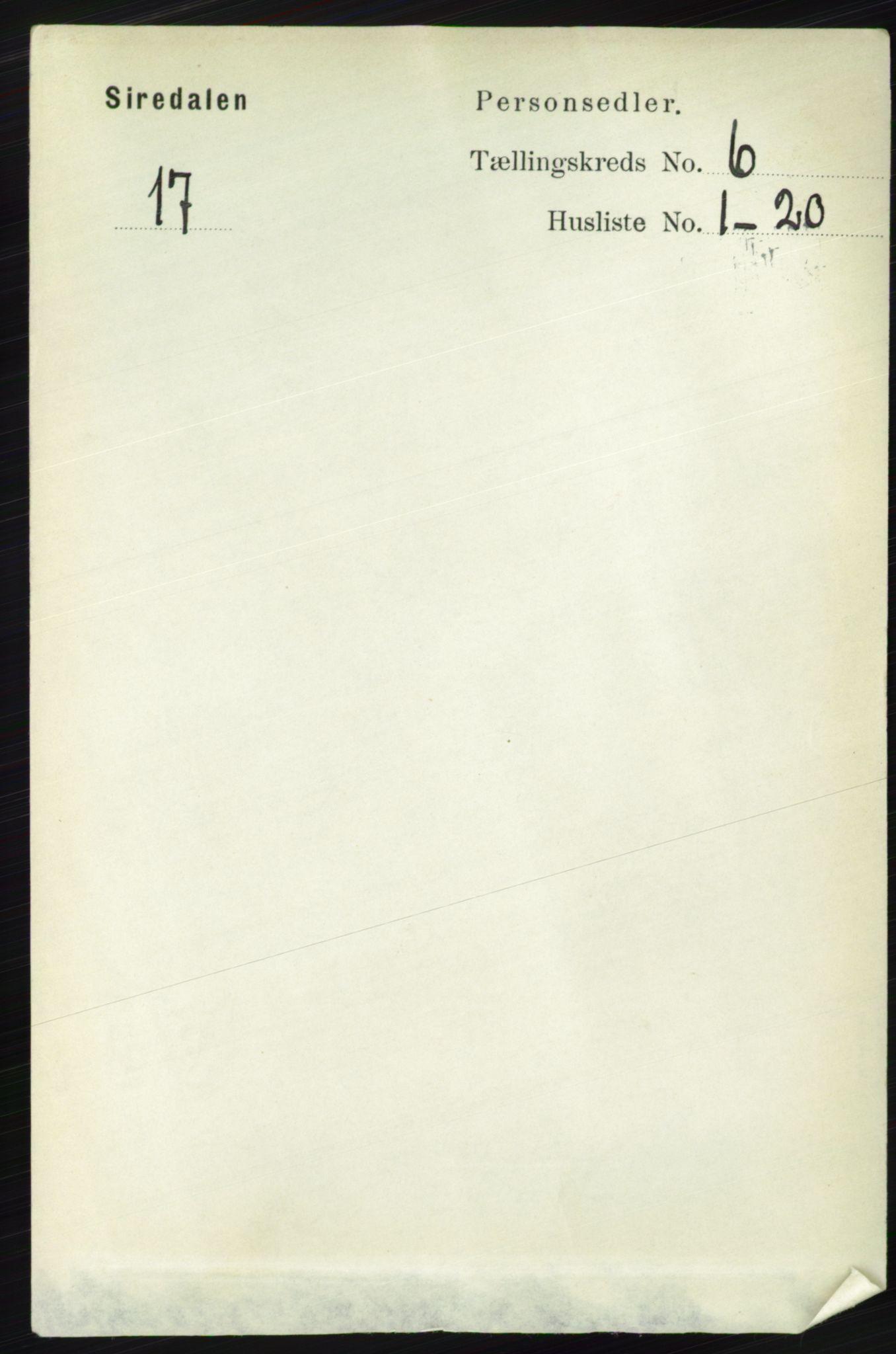 RA, Folketelling 1891 for 1046 Sirdal herred, 1891, s. 1633