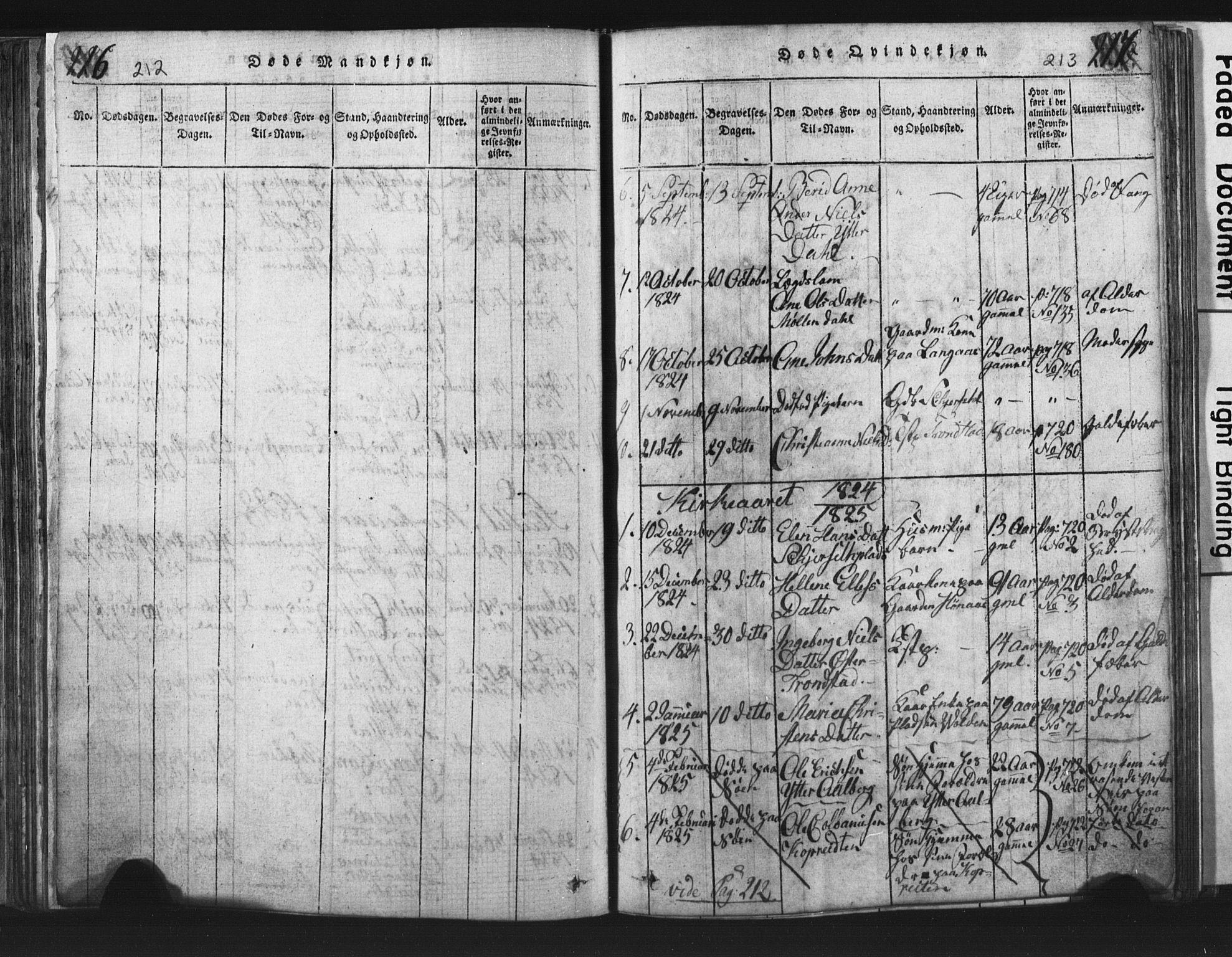 SAT, Ministerialprotokoller, klokkerbøker og fødselsregistre - Nord-Trøndelag, 701/L0017: Klokkerbok nr. 701C01, 1817-1825, s. 212-213