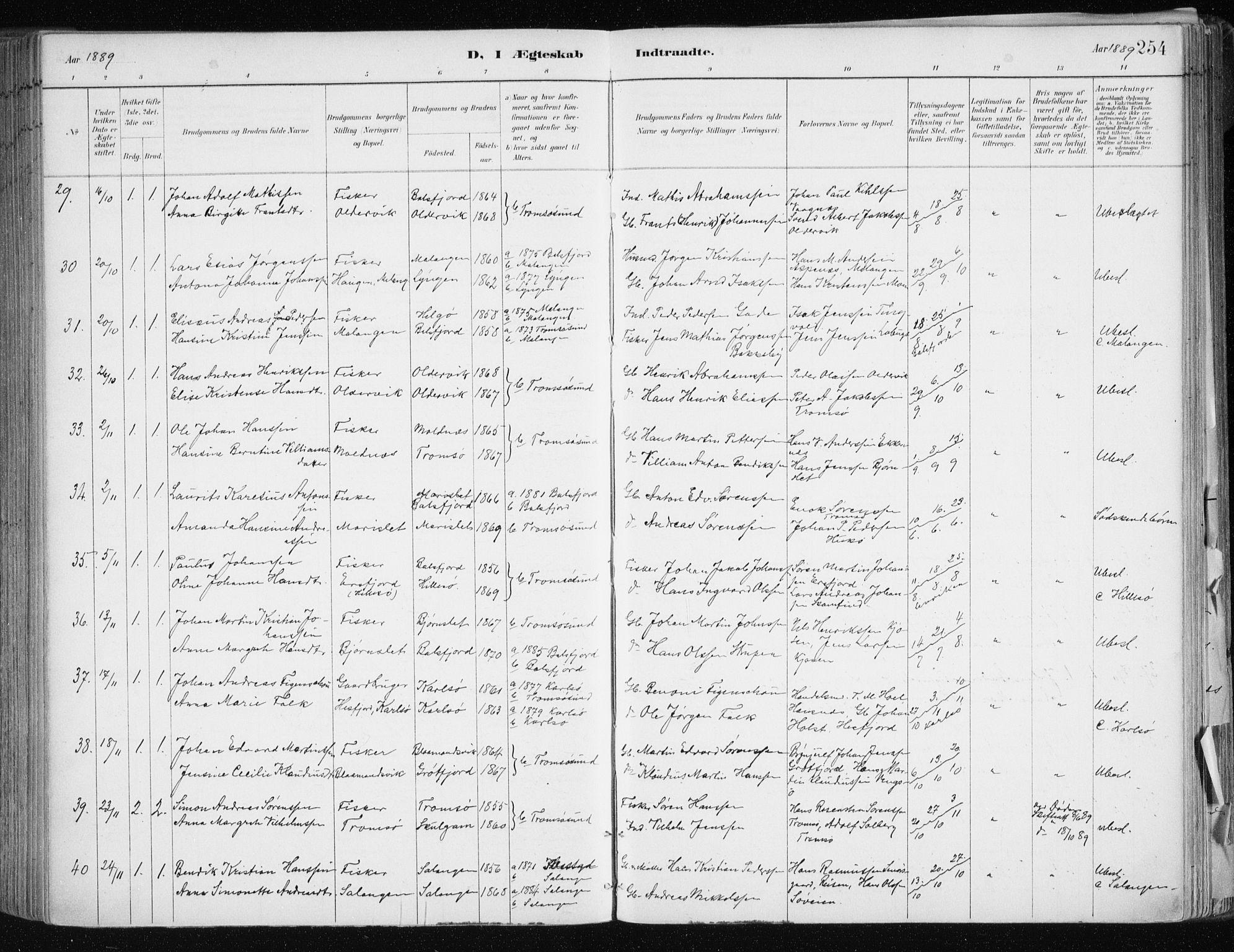 SATØ, Tromsøysund sokneprestkontor, G/Ga/L0005kirke: Ministerialbok nr. 5, 1888-1896, s. 254