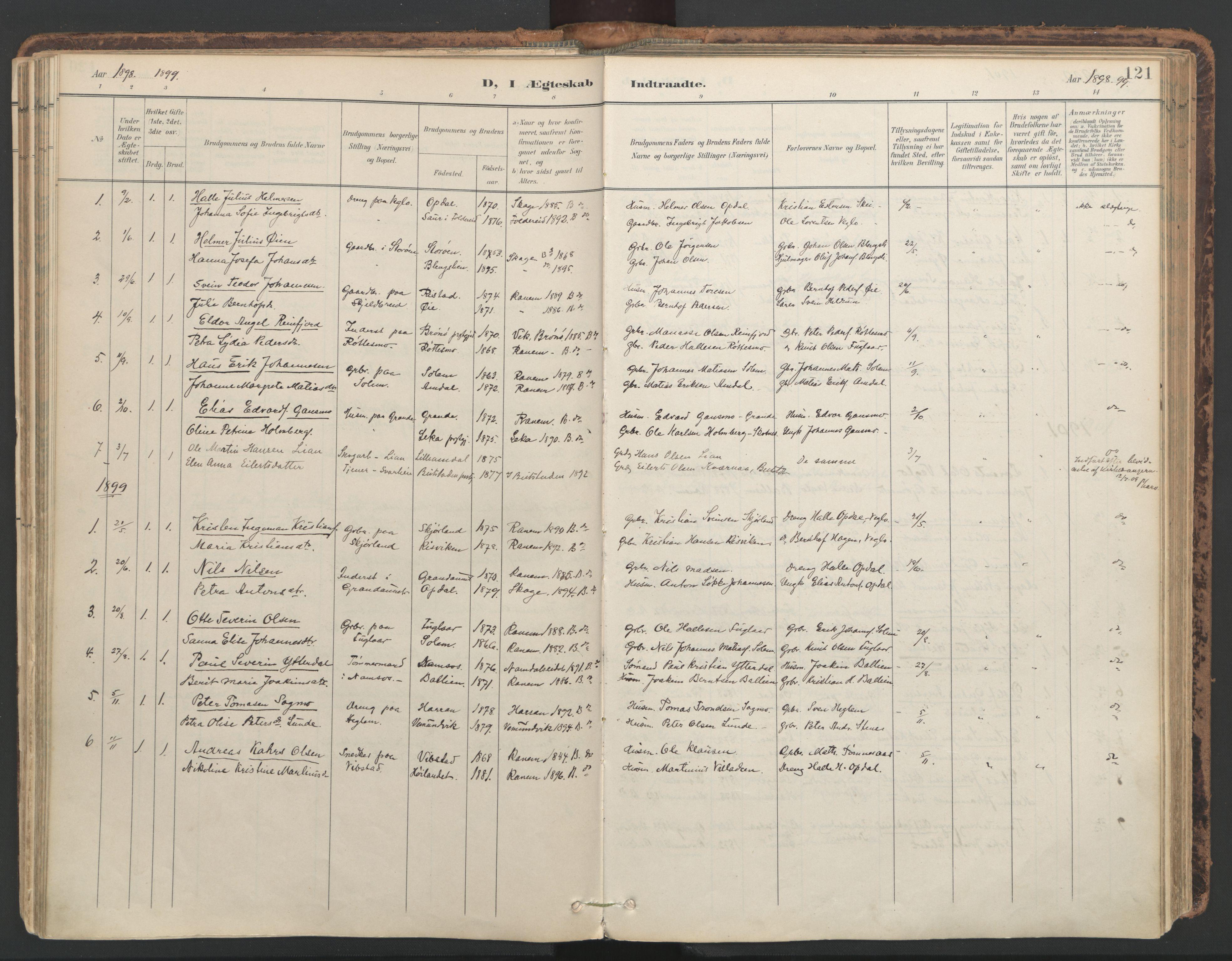 SAT, Ministerialprotokoller, klokkerbøker og fødselsregistre - Nord-Trøndelag, 764/L0556: Ministerialbok nr. 764A11, 1897-1924, s. 121