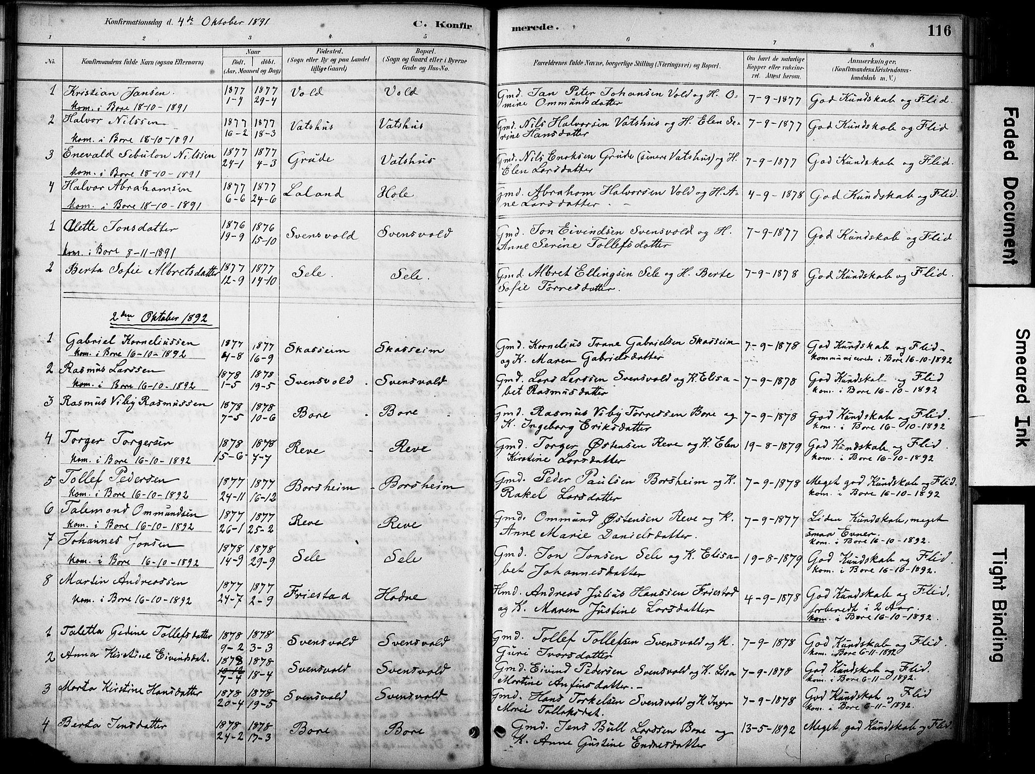 SAST, Klepp sokneprestkontor, 3/30BA/L0008: Ministerialbok nr. A 9, 1886-1919, s. 116