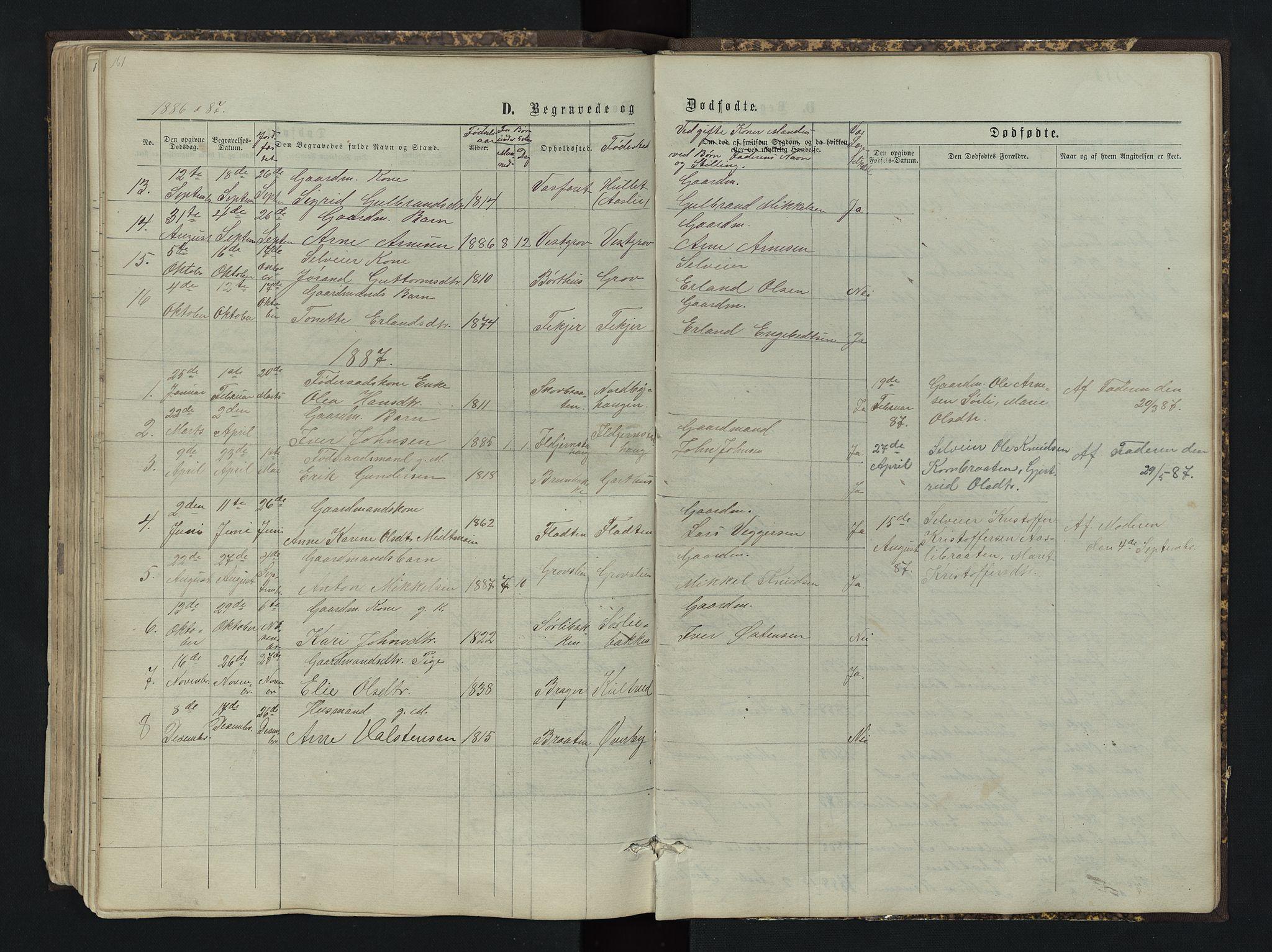 SAH, Sør-Aurdal prestekontor, Klokkerbok nr. 4, 1865-1893, s. 161