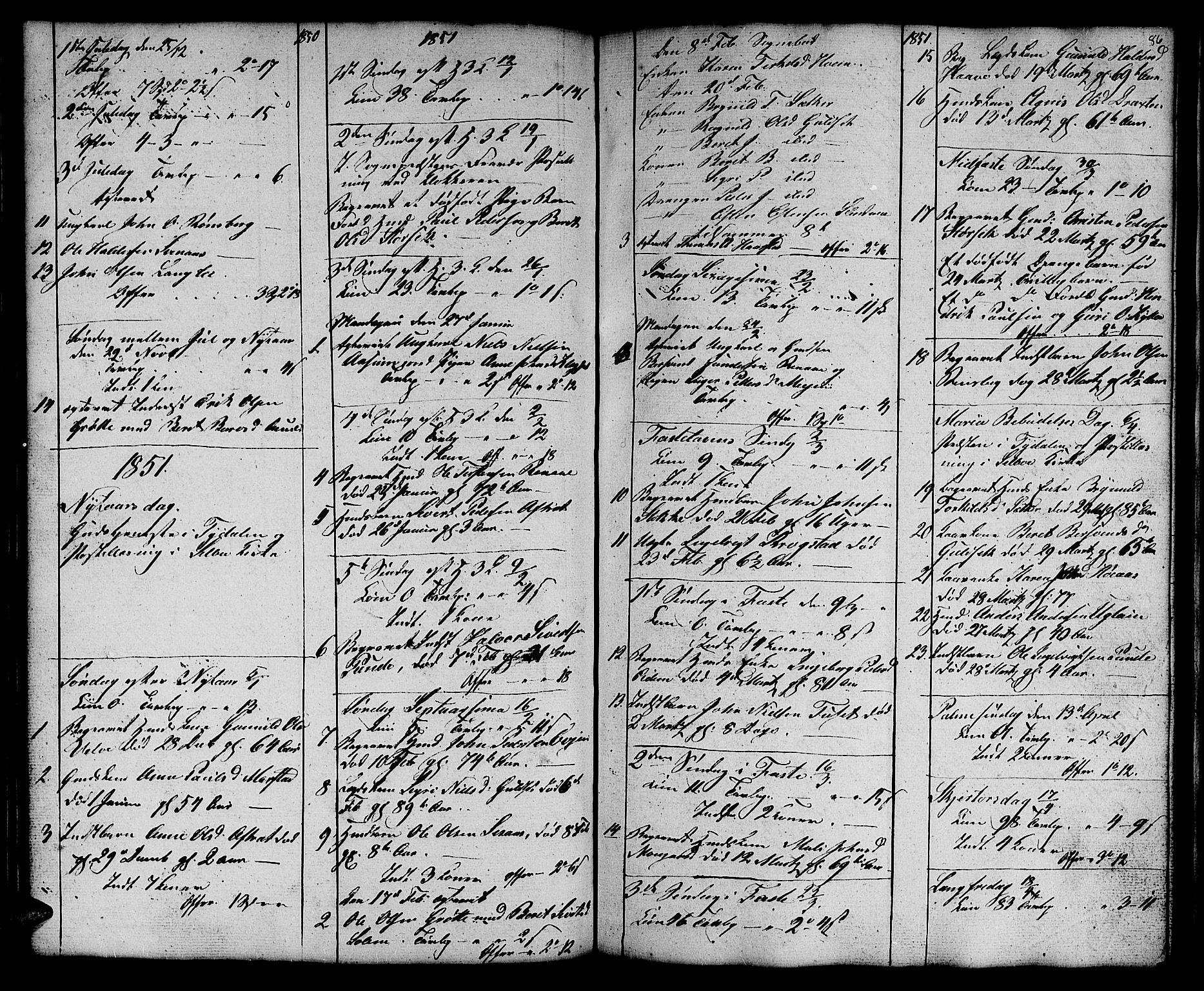 SAT, Ministerialprotokoller, klokkerbøker og fødselsregistre - Sør-Trøndelag, 695/L1154: Klokkerbok nr. 695C05, 1842-1858, s. 86