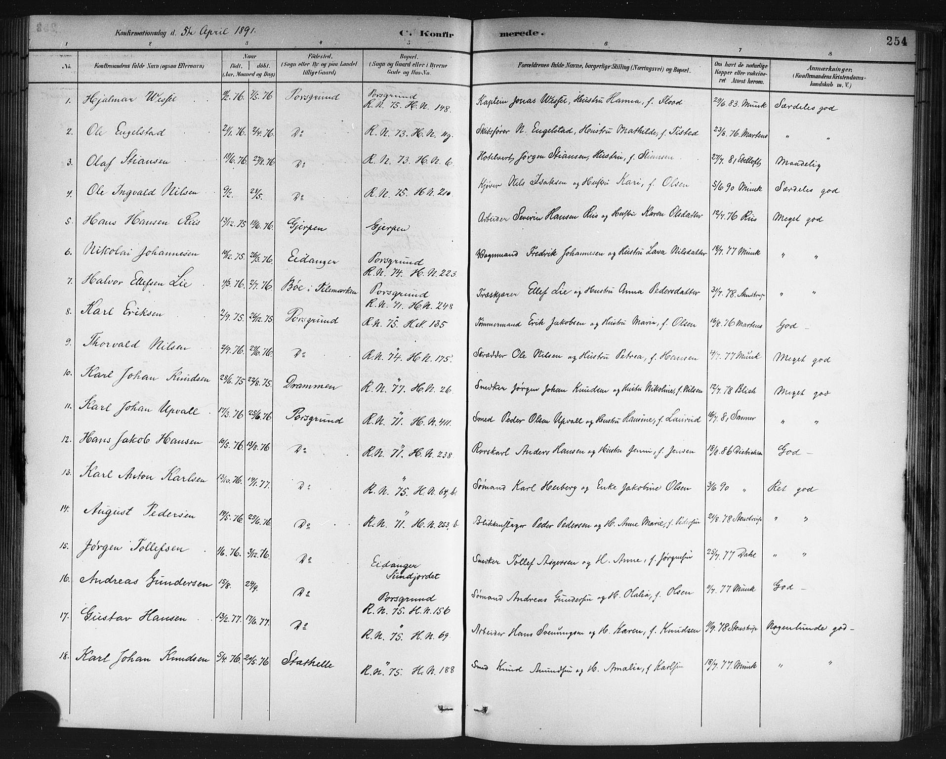 SAKO, Porsgrunn kirkebøker , G/Gb/L0005: Klokkerbok nr. II 5, 1883-1915, s. 254