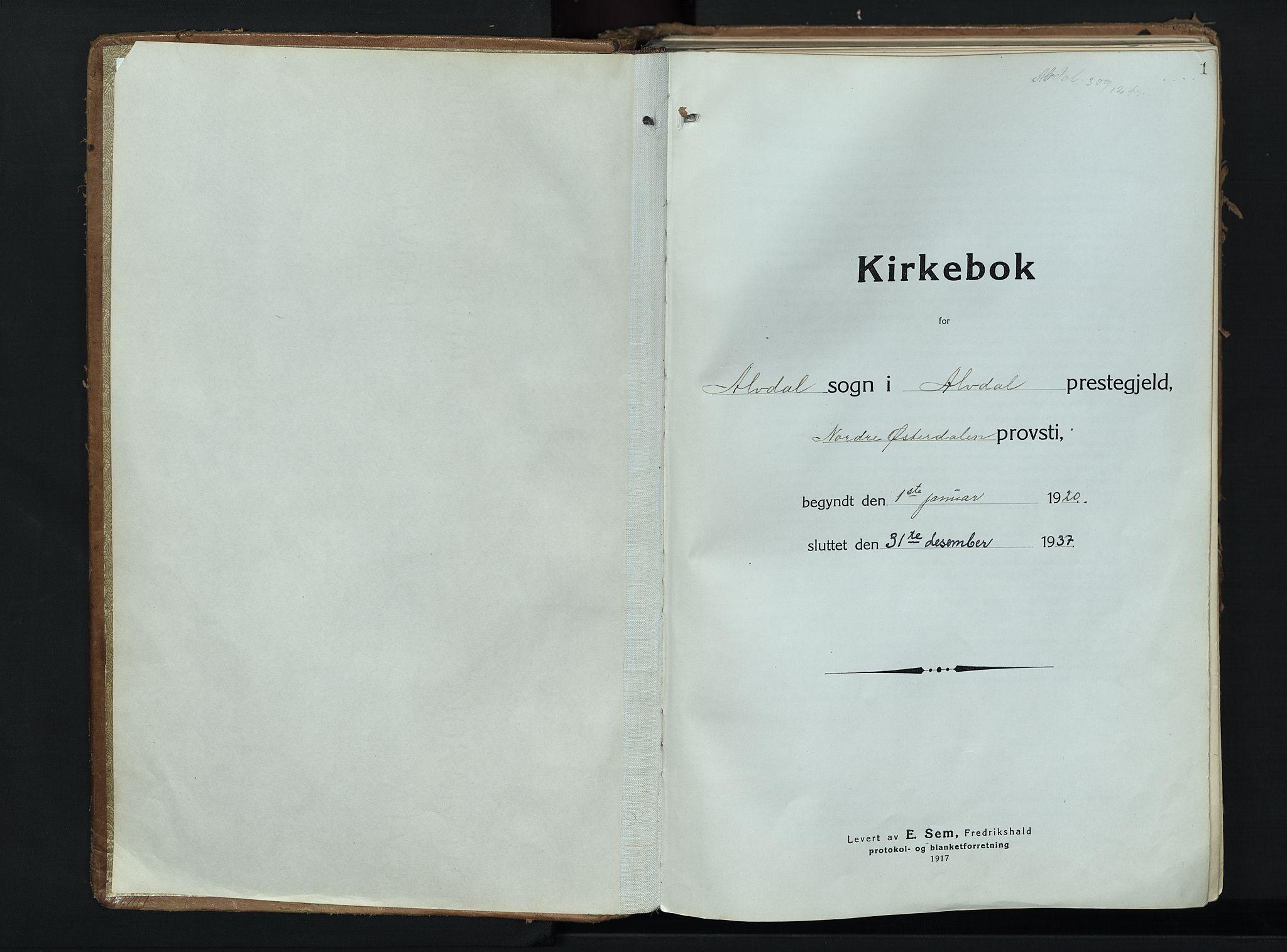 SAH, Alvdal prestekontor, Ministerialbok nr. 6, 1920-1937, s. 1