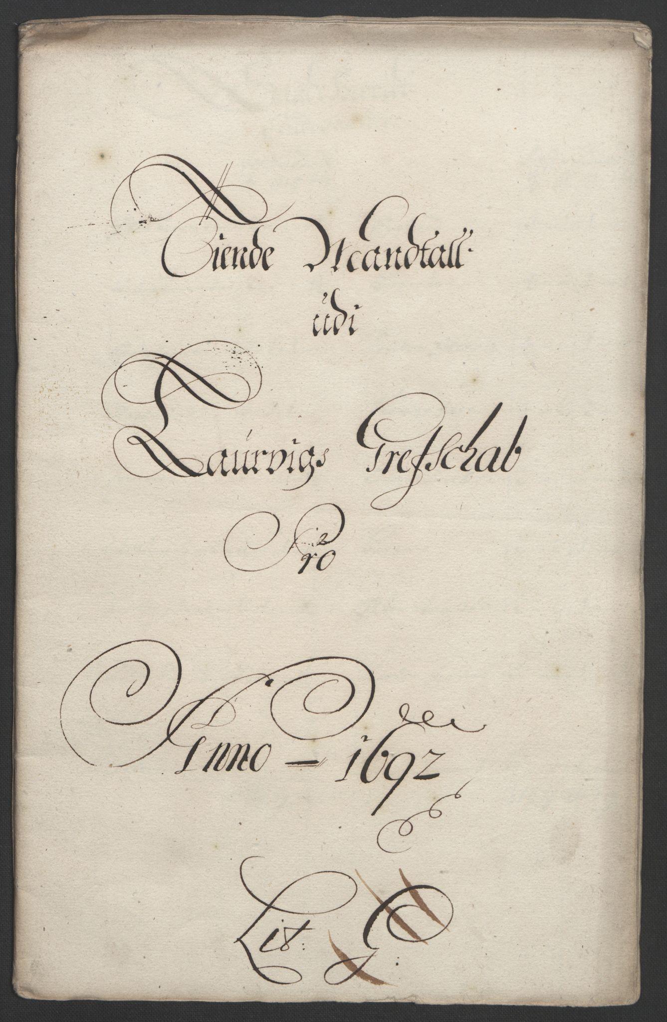 RA, Rentekammeret inntil 1814, Reviderte regnskaper, Fogderegnskap, R33/L1973: Fogderegnskap Larvik grevskap, 1692, s. 170