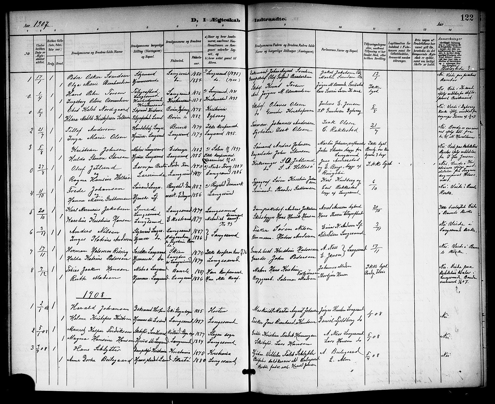 SAKO, Langesund kirkebøker, G/Ga/L0006: Klokkerbok nr. 6, 1899-1918, s. 122