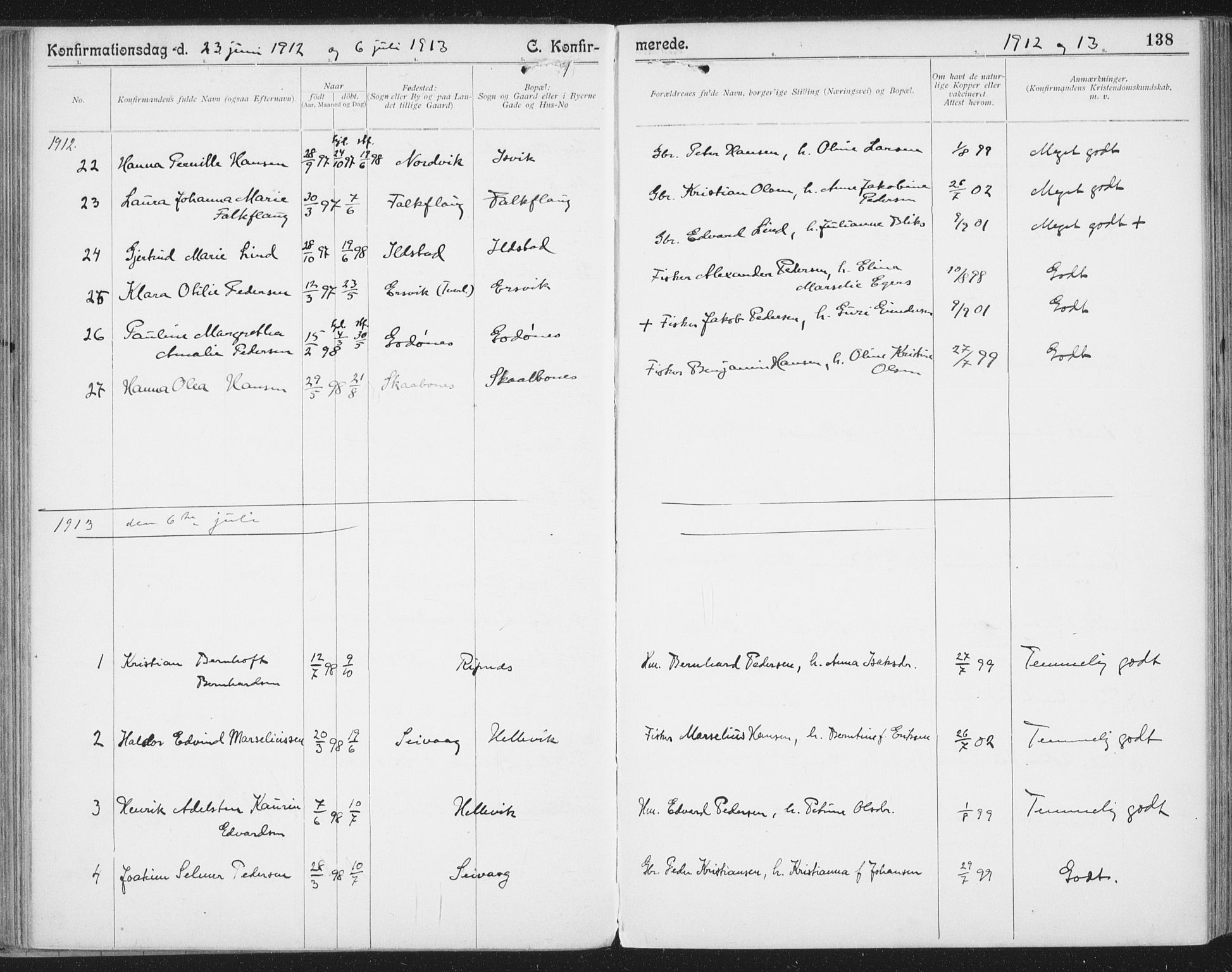 SAT, Ministerialprotokoller, klokkerbøker og fødselsregistre - Nordland, 804/L0081: Ministerialbok nr. 804A02, 1901-1915, s. 138
