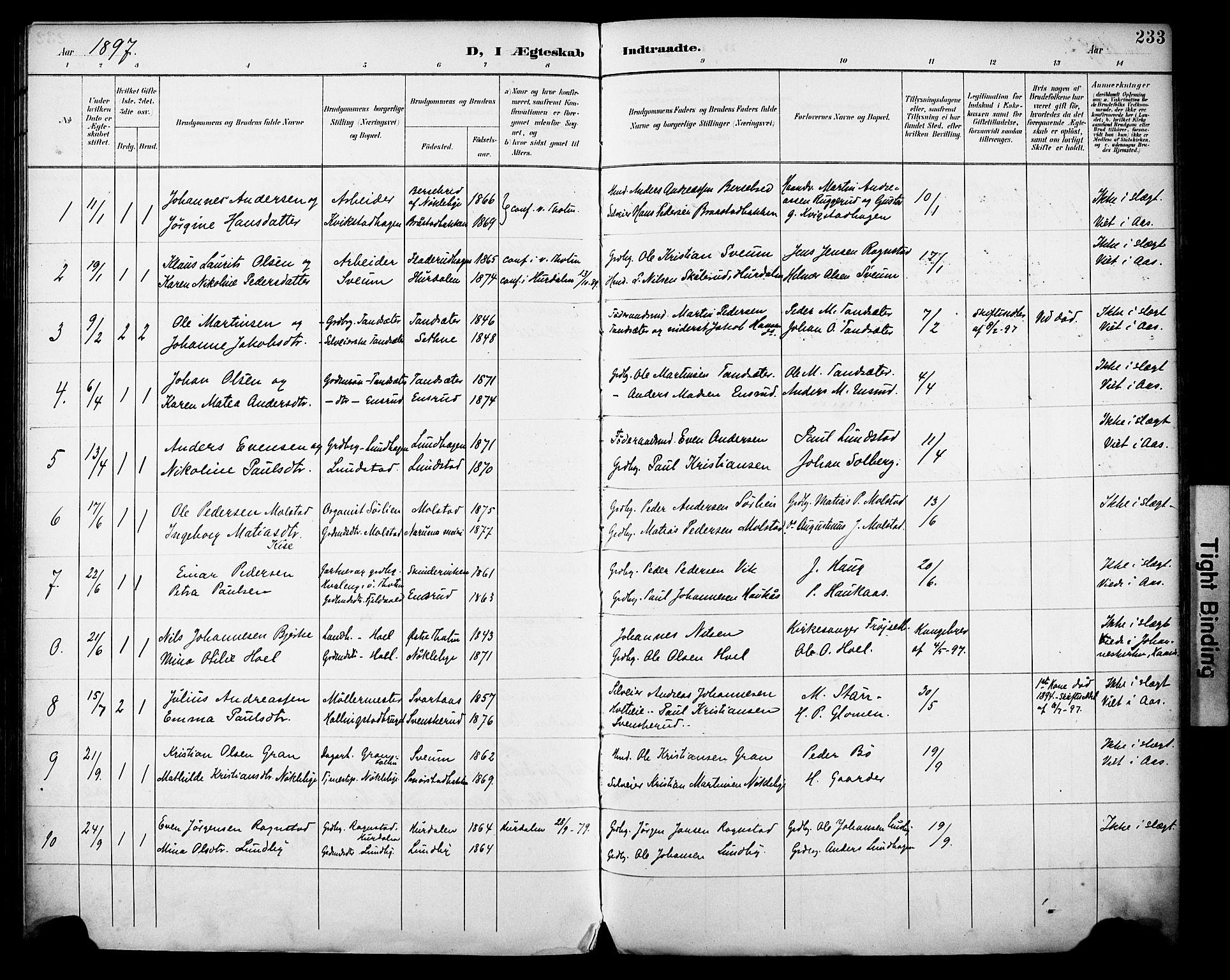 SAH, Vestre Toten prestekontor, H/Ha/Haa/L0013: Ministerialbok nr. 13, 1895-1911, s. 233