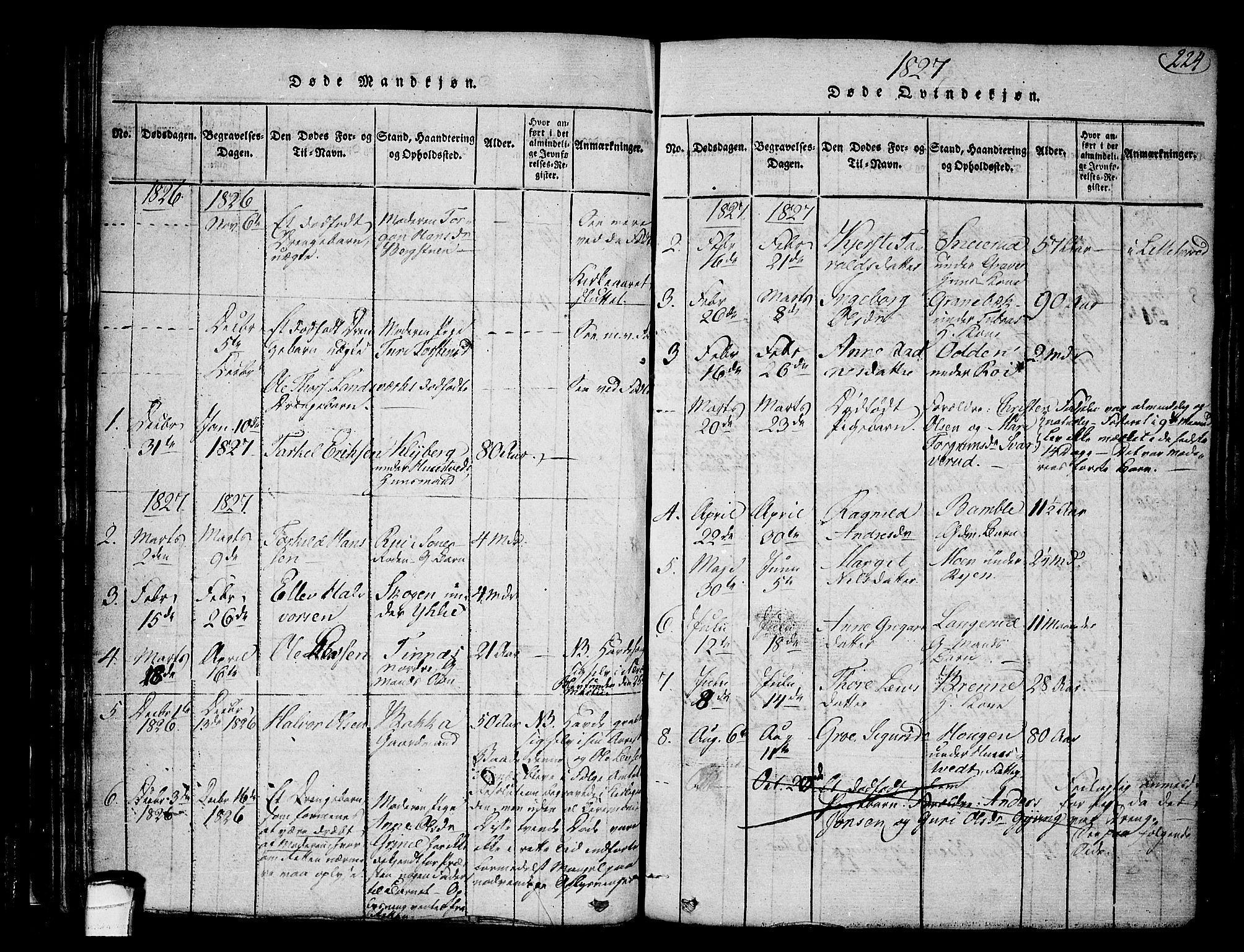 SAKO, Heddal kirkebøker, F/Fa/L0005: Ministerialbok nr. I 5, 1814-1837, s. 223-224