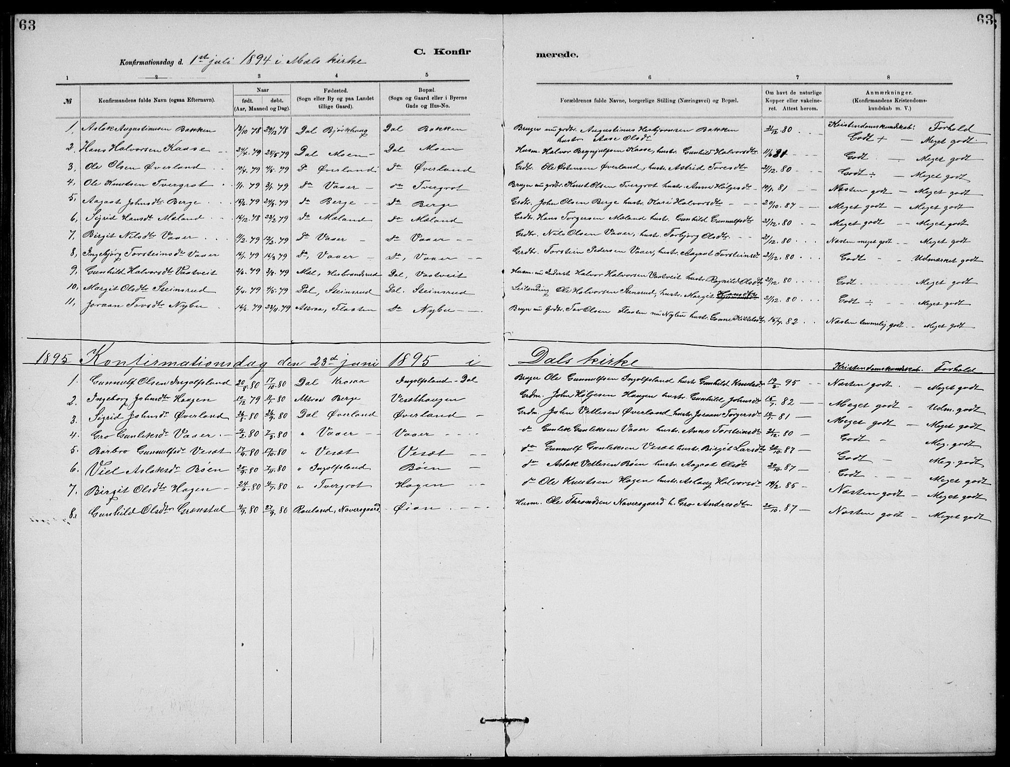SAKO, Rjukan kirkebøker, G/Ga/L0001: Klokkerbok nr. 1, 1880-1914, s. 63