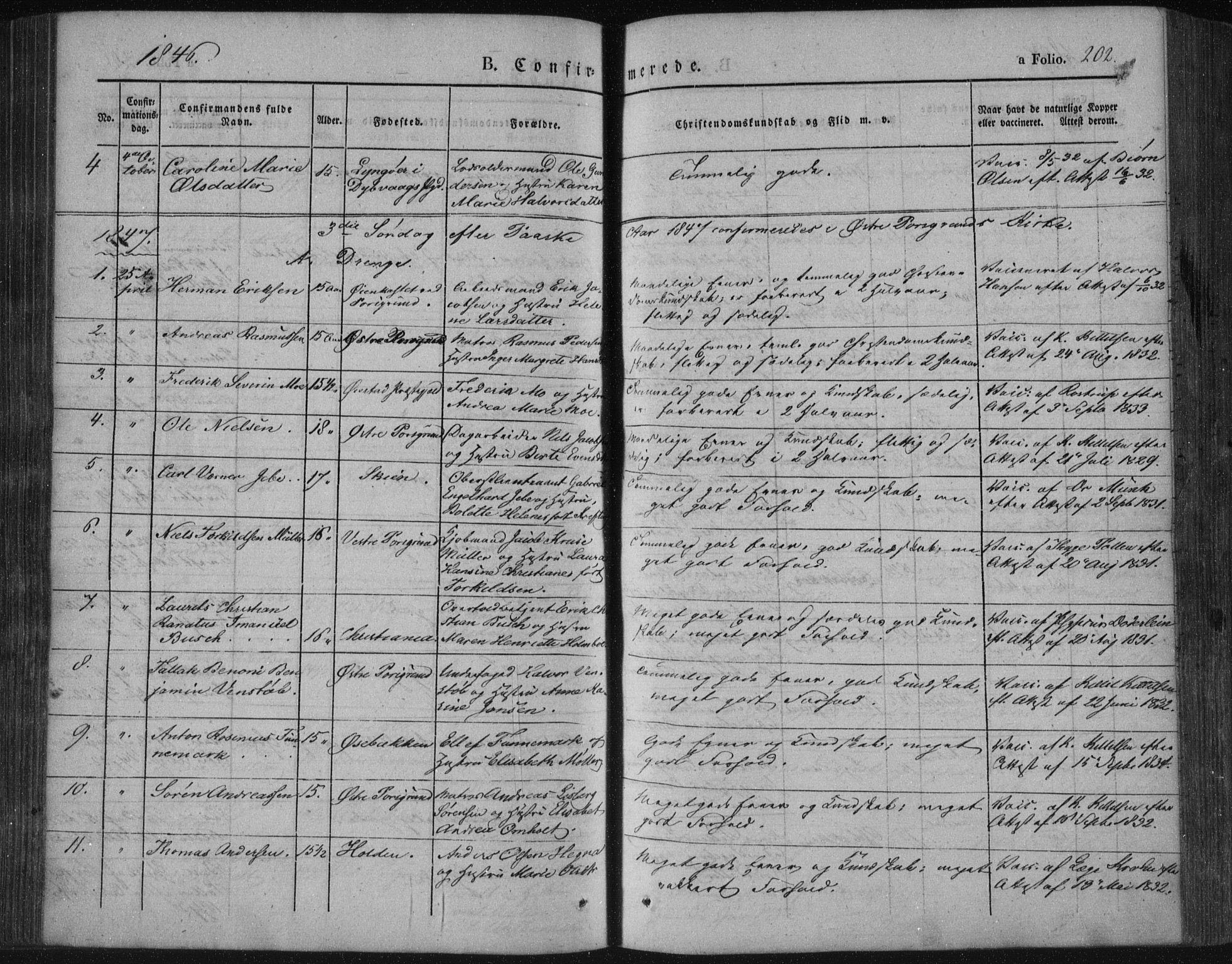 SAKO, Porsgrunn kirkebøker , F/Fa/L0006: Ministerialbok nr. 6, 1841-1857, s. 202