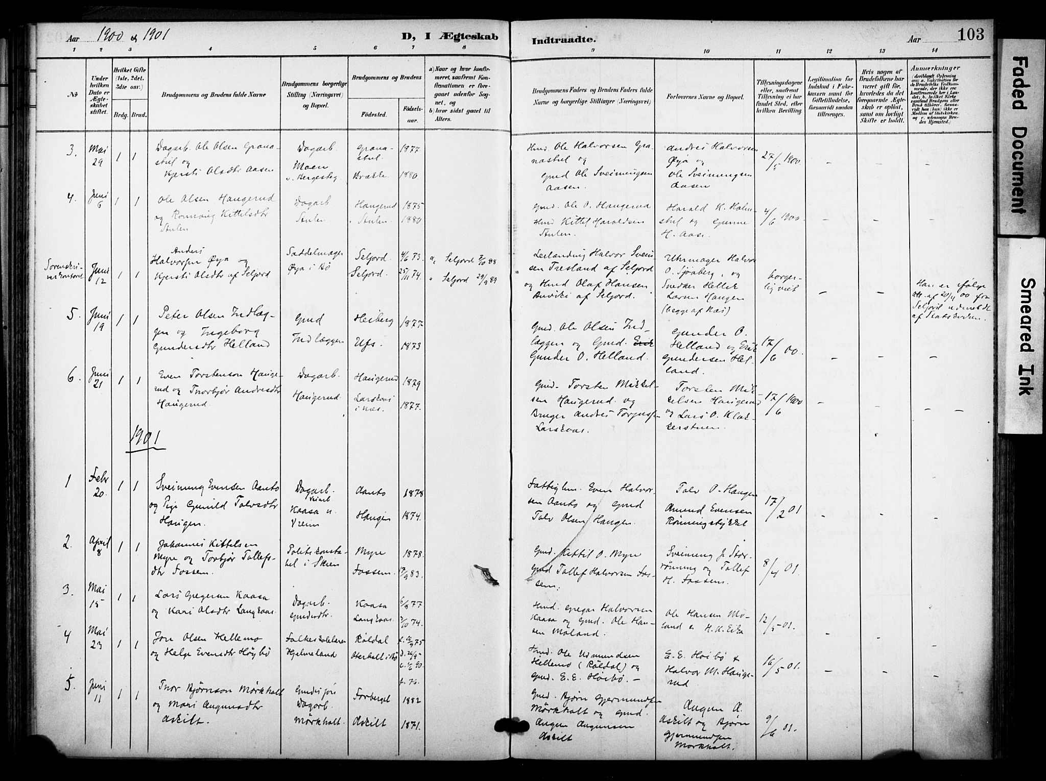 SAKO, Bø kirkebøker, F/Fa/L0012: Ministerialbok nr. 12, 1900-1908, s. 103