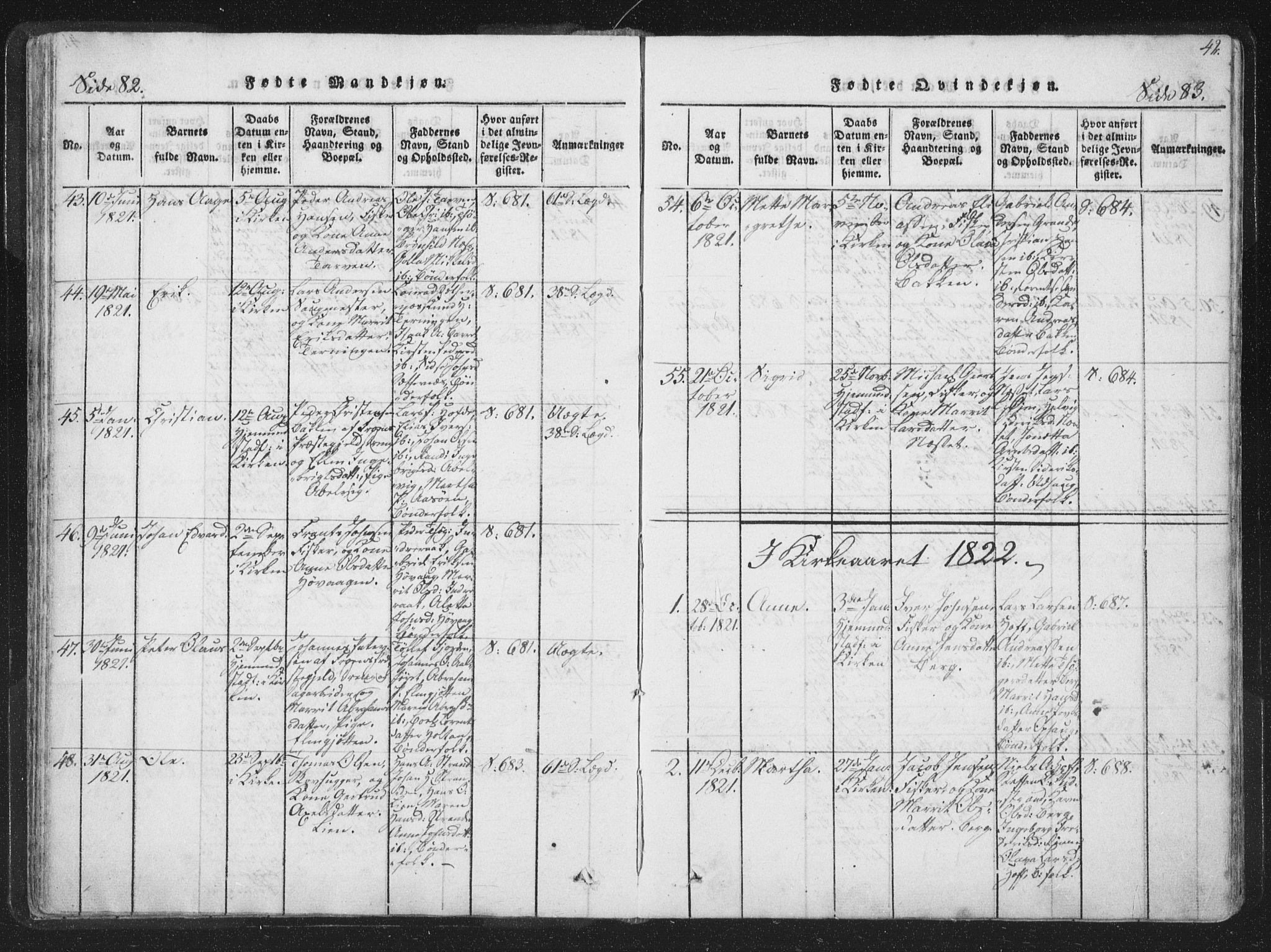 SAT, Ministerialprotokoller, klokkerbøker og fødselsregistre - Sør-Trøndelag, 659/L0734: Ministerialbok nr. 659A04, 1818-1825, s. 82-83
