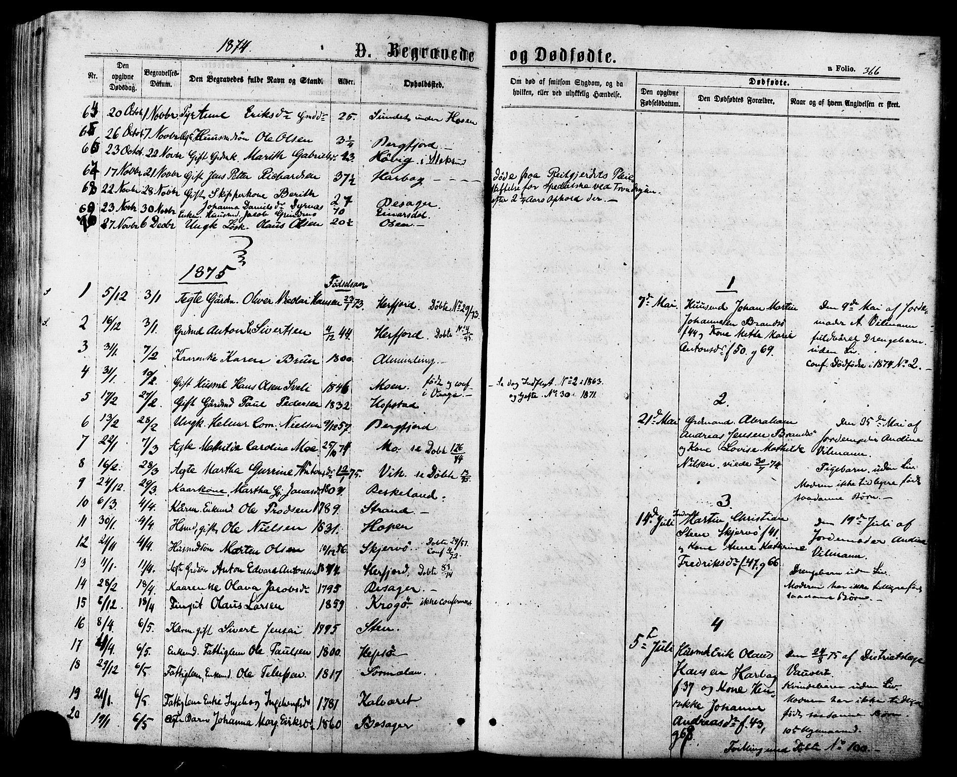 SAT, Ministerialprotokoller, klokkerbøker og fødselsregistre - Sør-Trøndelag, 657/L0706: Ministerialbok nr. 657A07, 1867-1878, s. 366