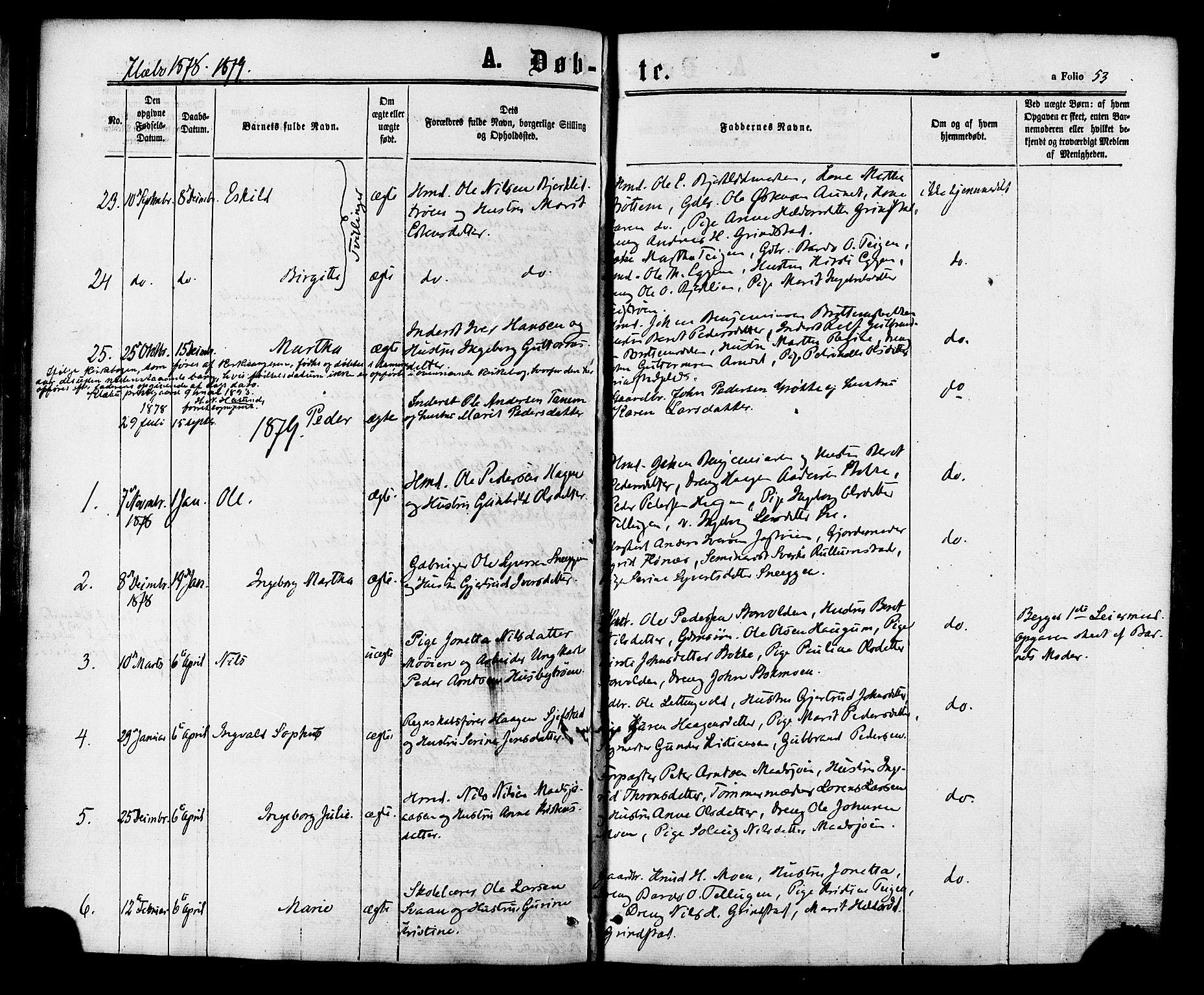 SAT, Ministerialprotokoller, klokkerbøker og fødselsregistre - Sør-Trøndelag, 618/L0442: Ministerialbok nr. 618A06 /1, 1863-1879, s. 53