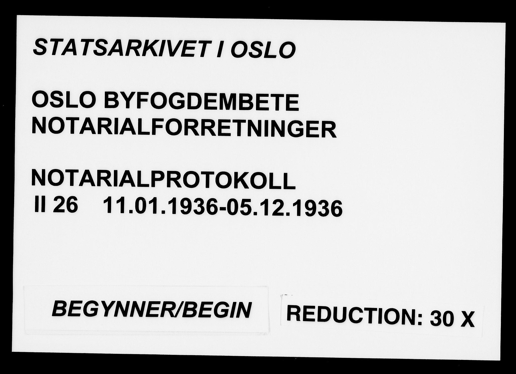 SAO, Oslo byfogd avd. I, L/Lb/Lbb/L0026: Notarialprotokoll, rekke II: Vigsler, 1936, s. upaginert