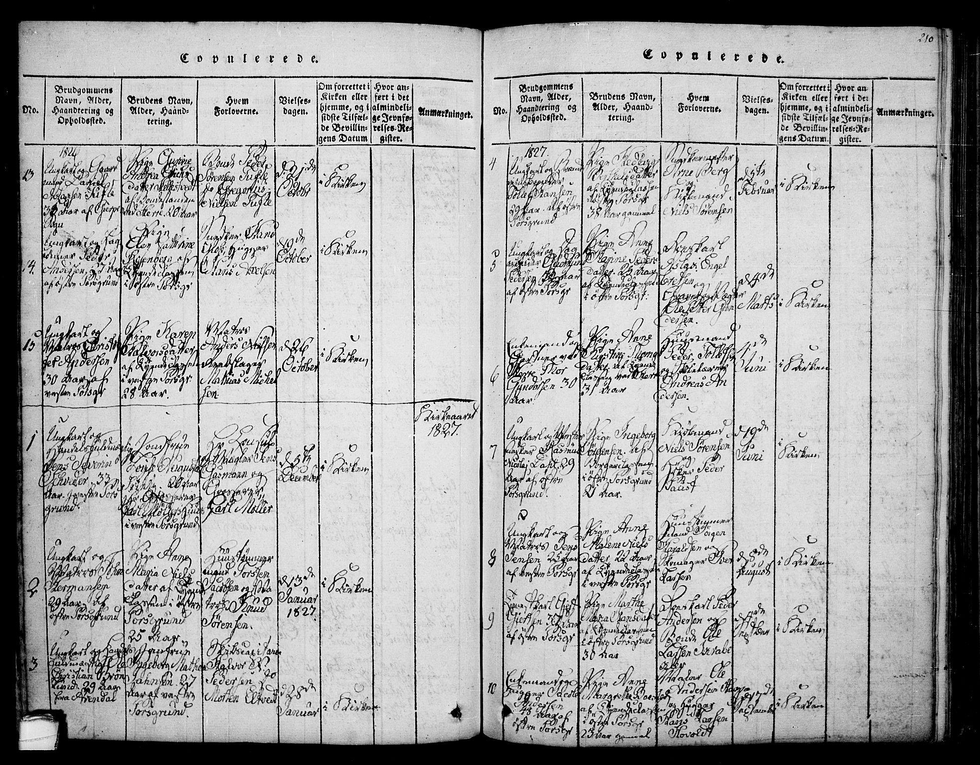 SAKO, Porsgrunn kirkebøker , F/Fa/L0004: Ministerialbok nr. 4, 1814-1828, s. 210