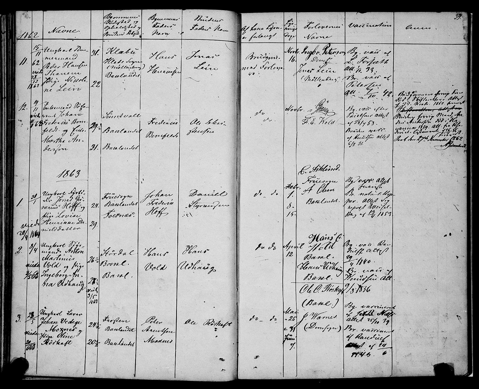 SAT, Ministerialprotokoller, klokkerbøker og fødselsregistre - Sør-Trøndelag, 604/L0187: Ministerialbok nr. 604A08, 1847-1878, s. 39