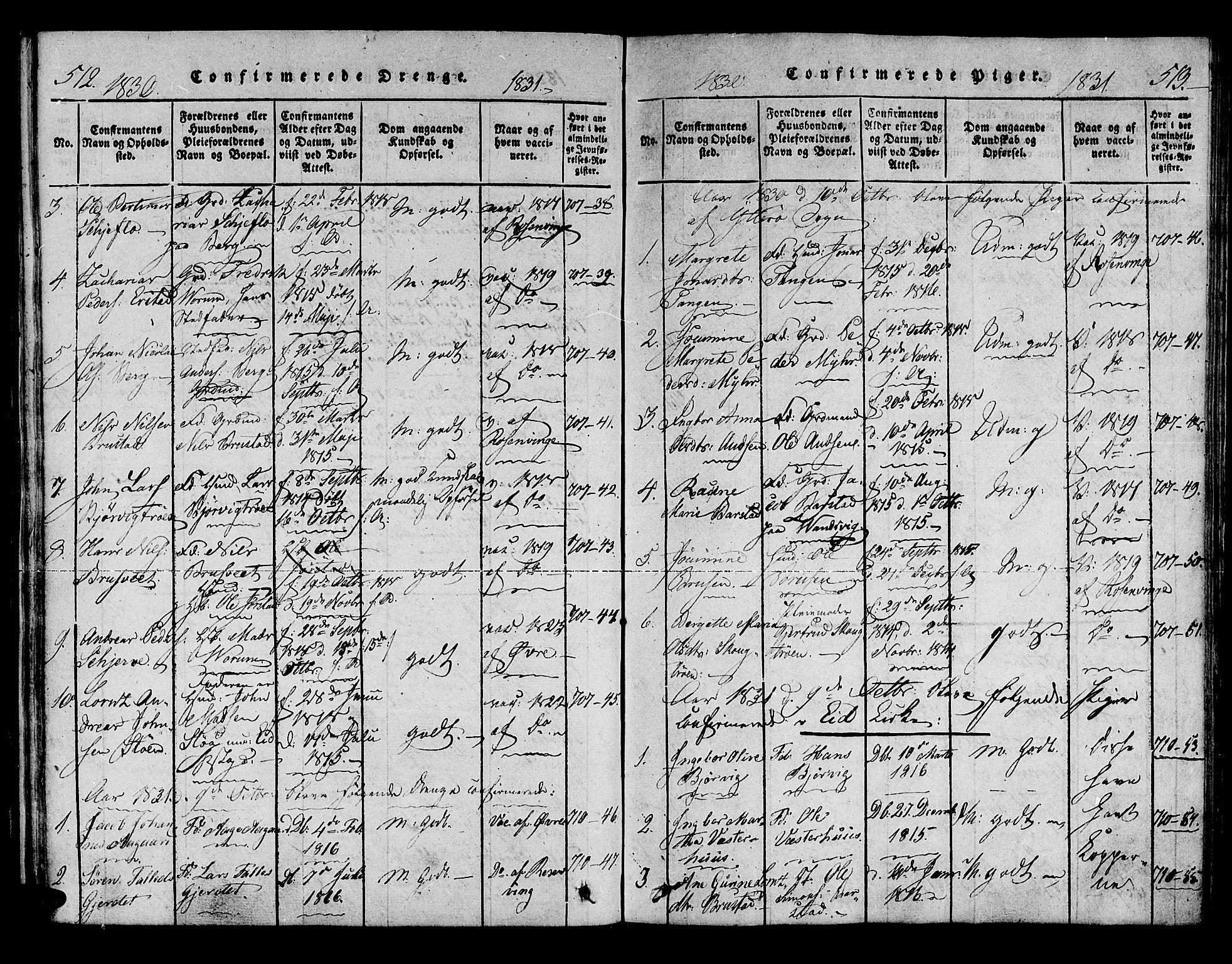 SAT, Ministerialprotokoller, klokkerbøker og fødselsregistre - Nord-Trøndelag, 722/L0217: Ministerialbok nr. 722A04, 1817-1842, s. 512-513