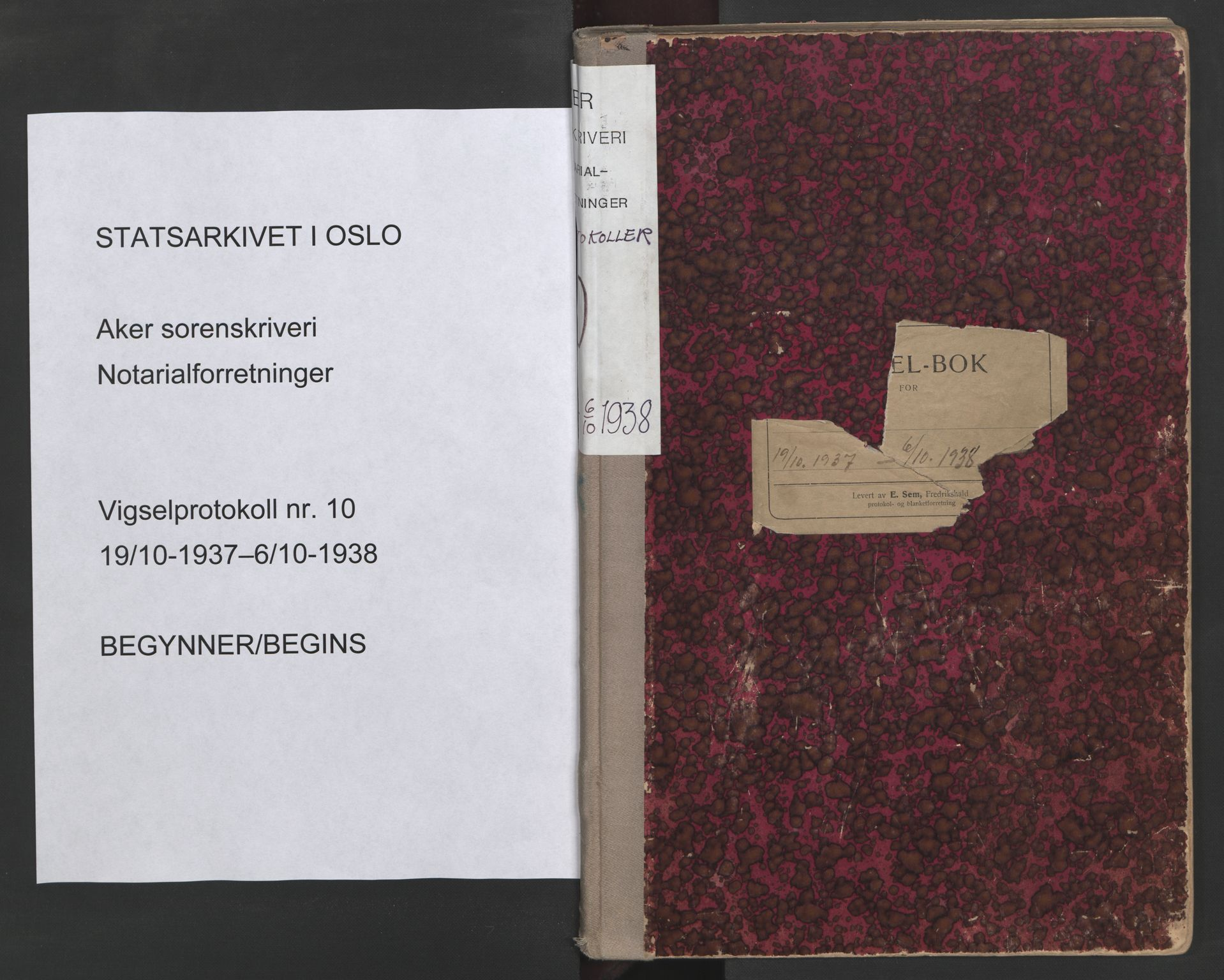 SAO, Aker sorenskriveri, L/Lc/Lcb/L0010: Vigselprotokoll, 1937-1938, s. upaginert