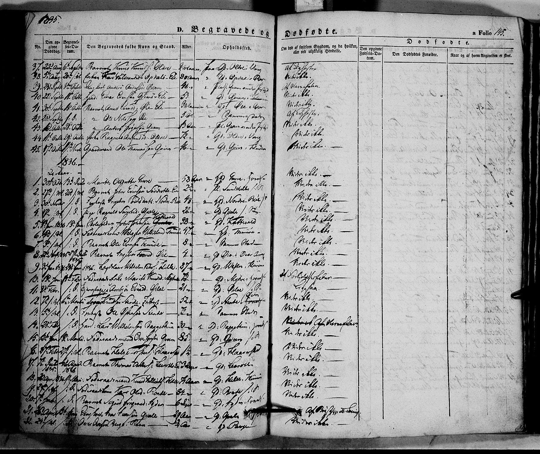 SAH, Vang prestekontor, Valdres, Ministerialbok nr. 5, 1831-1845, s. 145