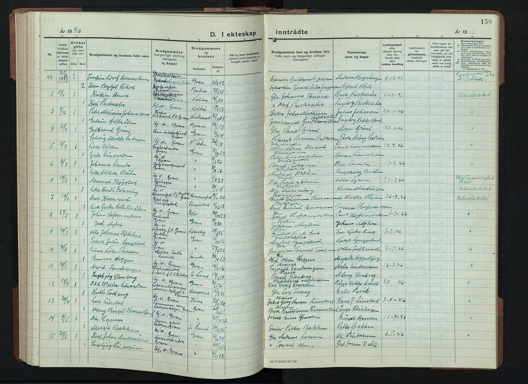 SAH, Gran prestekontor, Klokkerbok nr. 9, 1933-1950, s. 158