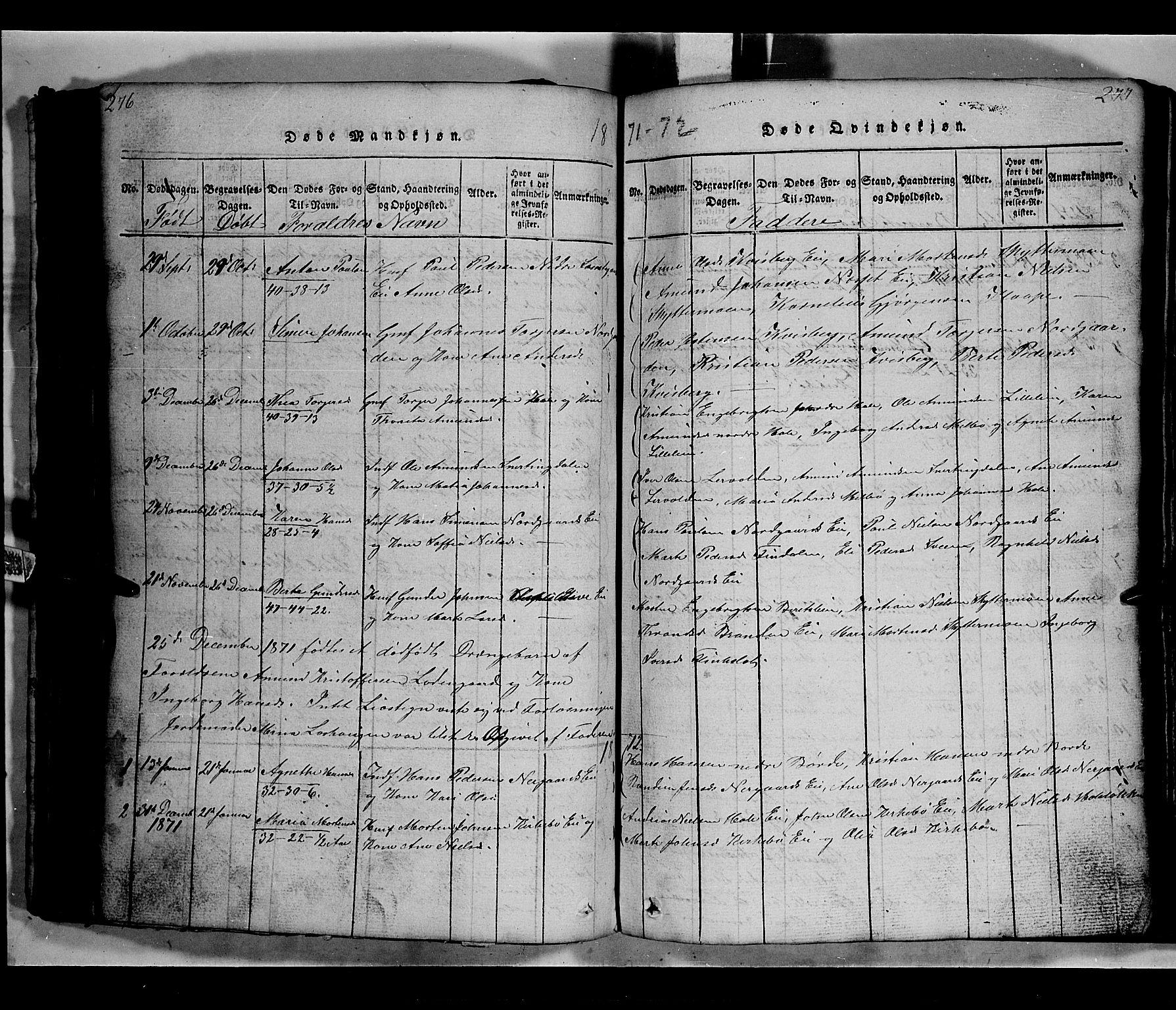 SAH, Gausdal prestekontor, Klokkerbok nr. 2, 1818-1874, s. 276-277