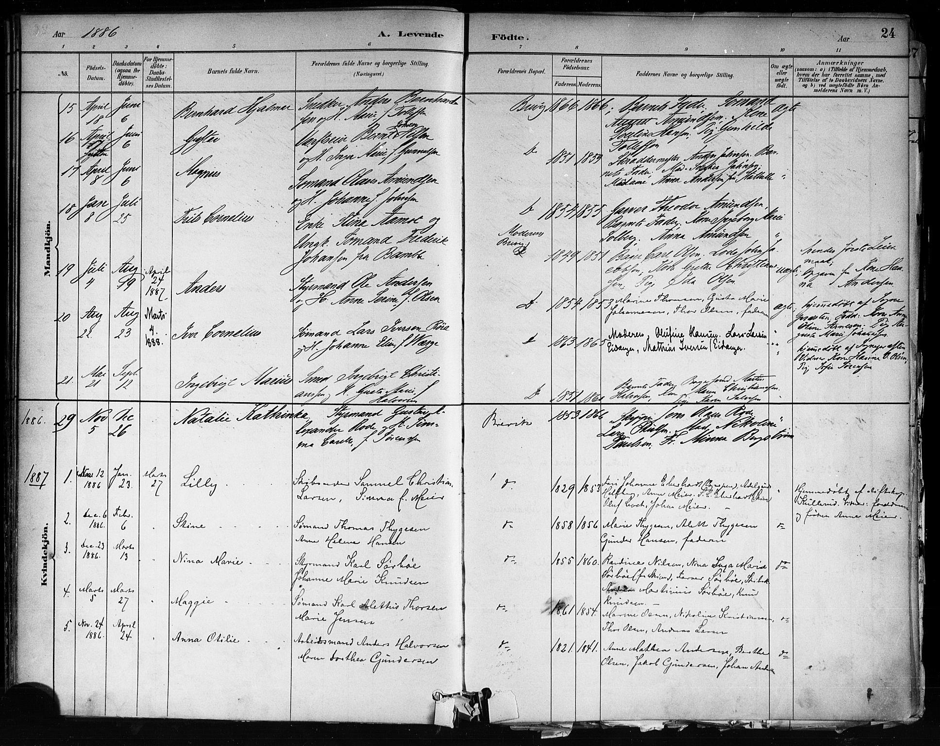 SAKO, Brevik kirkebøker, F/Fa/L0007: Ministerialbok nr. 7, 1882-1900, s. 24