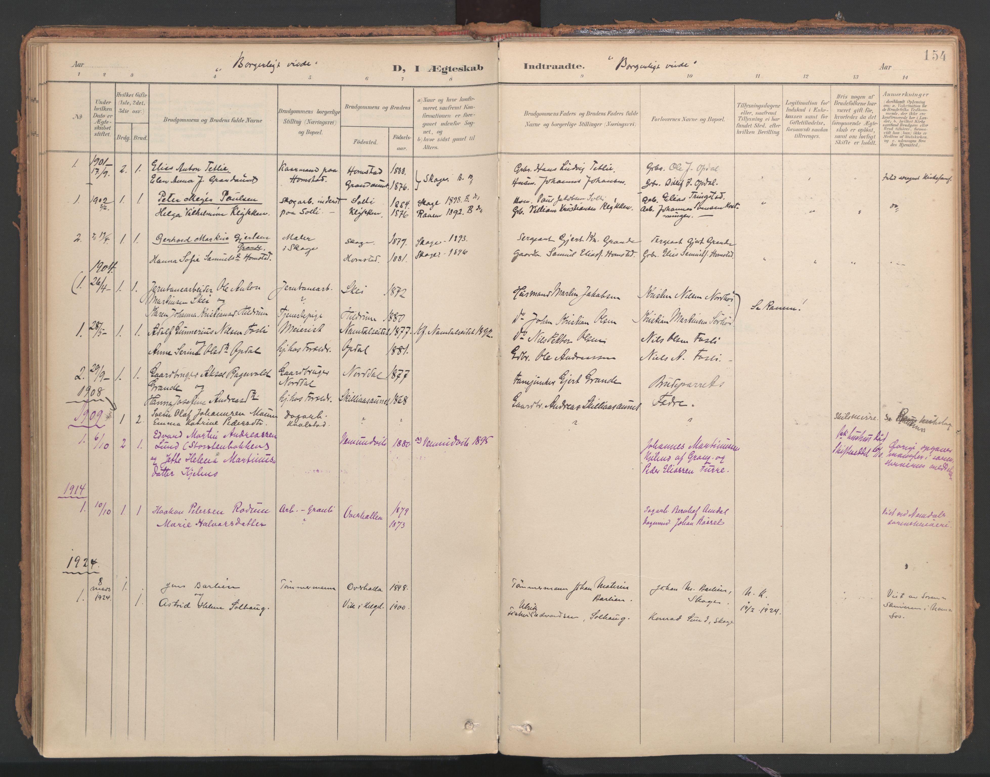 SAT, Ministerialprotokoller, klokkerbøker og fødselsregistre - Nord-Trøndelag, 766/L0564: Ministerialbok nr. 767A02, 1900-1932, s. 154