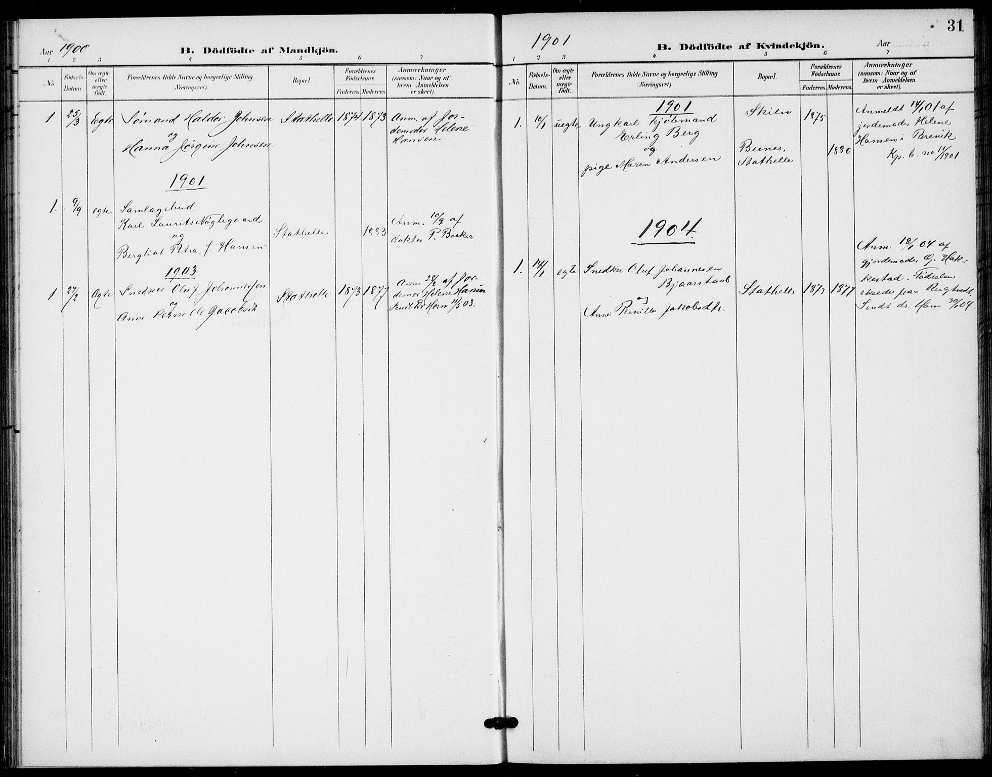 SAKO, Bamble kirkebøker, G/Gb/L0002: Klokkerbok nr. II 2, 1900-1925, s. 31
