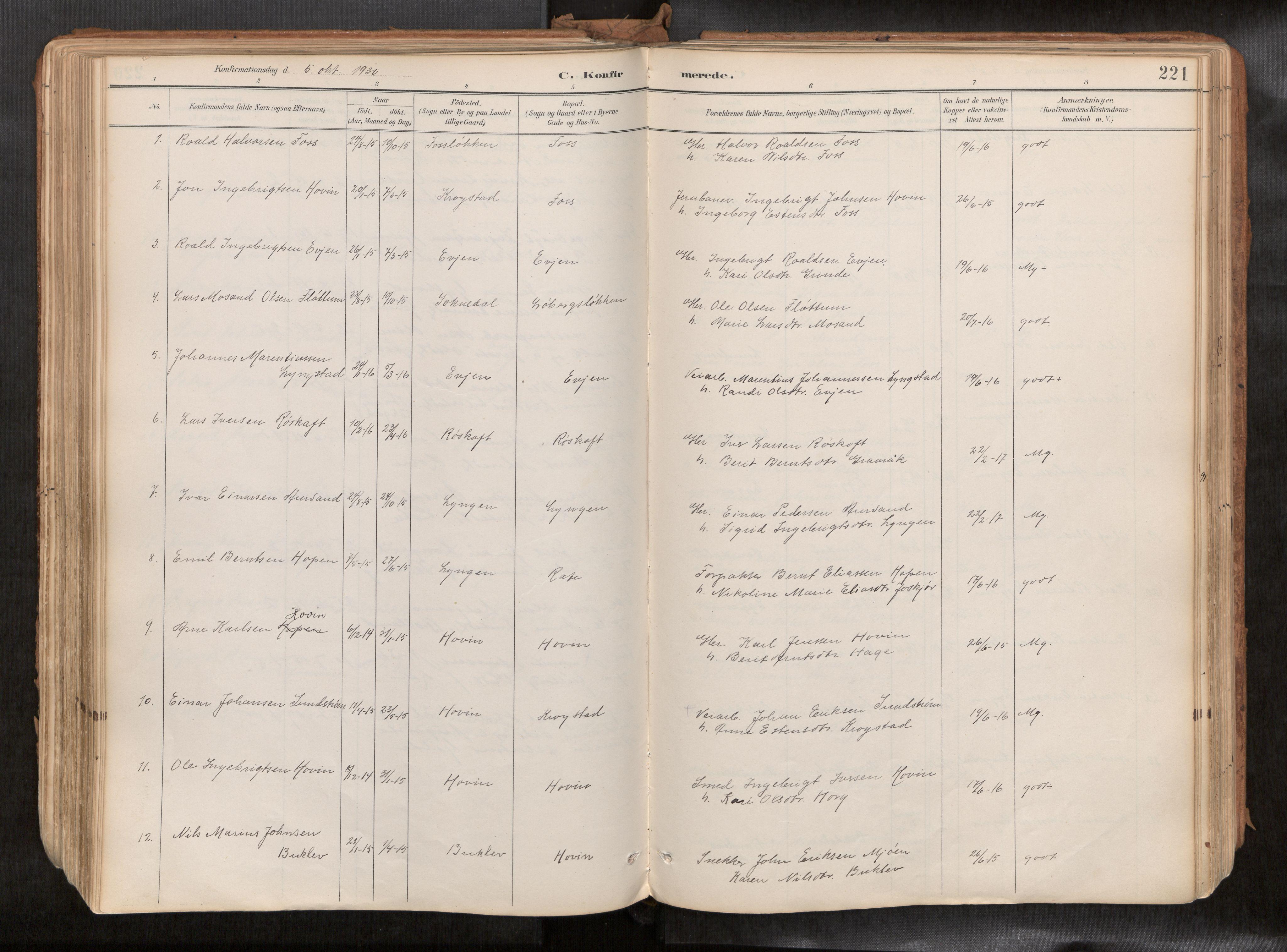SAT, Ministerialprotokoller, klokkerbøker og fødselsregistre - Sør-Trøndelag, 692/L1105b: Ministerialbok nr. 692A06, 1891-1934, s. 221