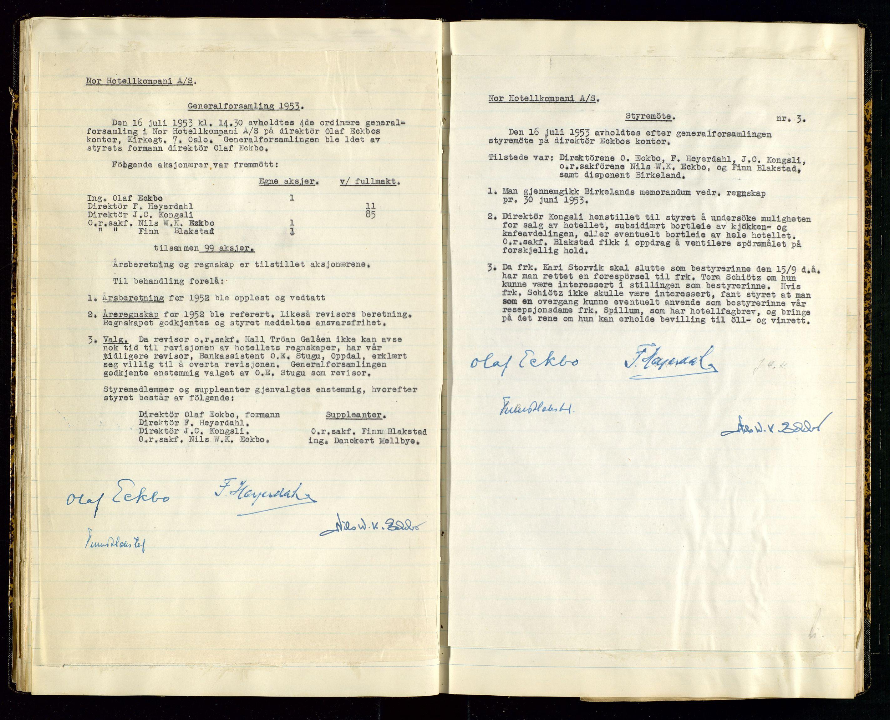 SAST, PA 1516 - Nor Hotellkompani A/S, A/L0001: Referatprotokoll, 1948-1855, s. 33