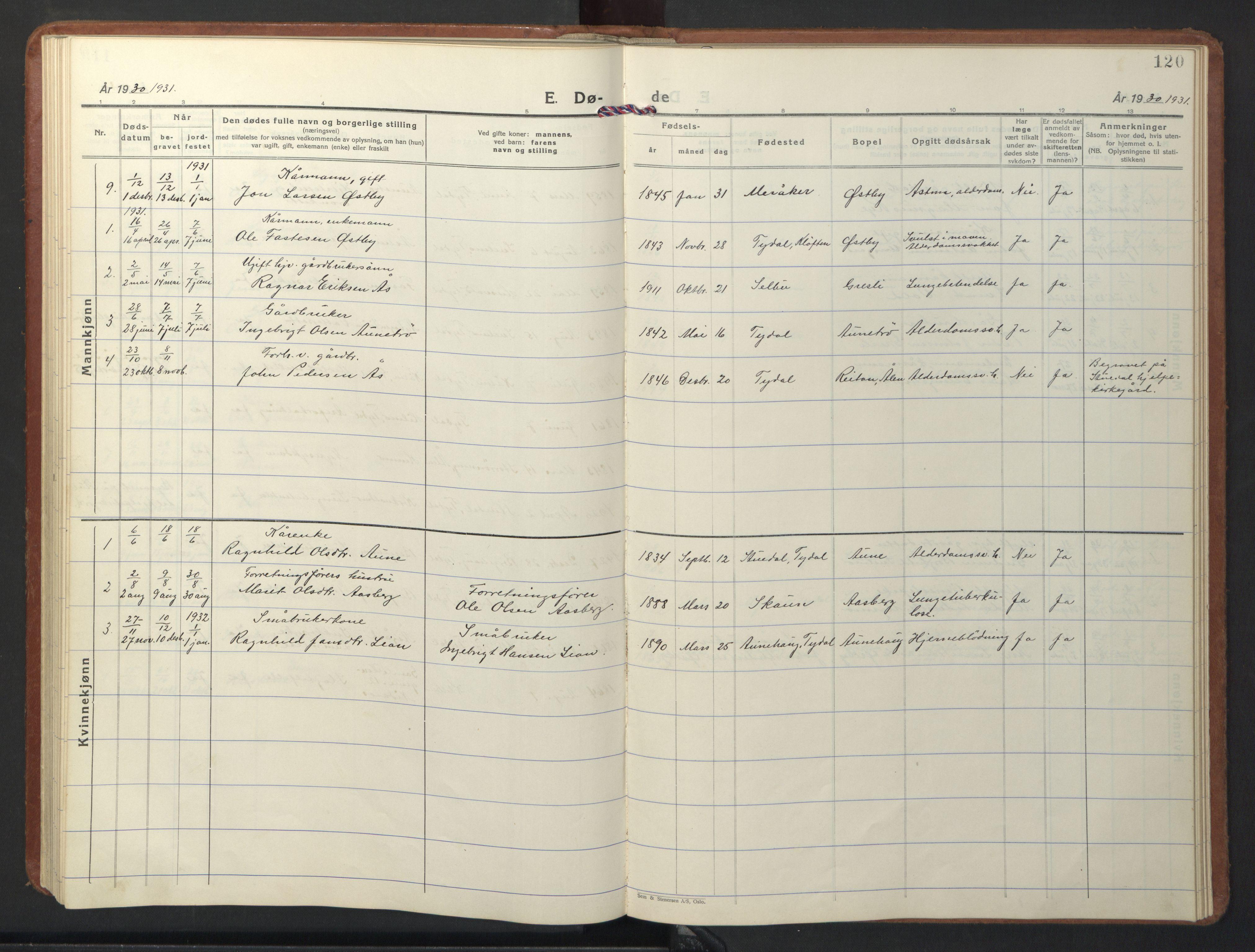 SAT, Ministerialprotokoller, klokkerbøker og fødselsregistre - Sør-Trøndelag, 698/L1169: Klokkerbok nr. 698C06, 1930-1949, s. 120