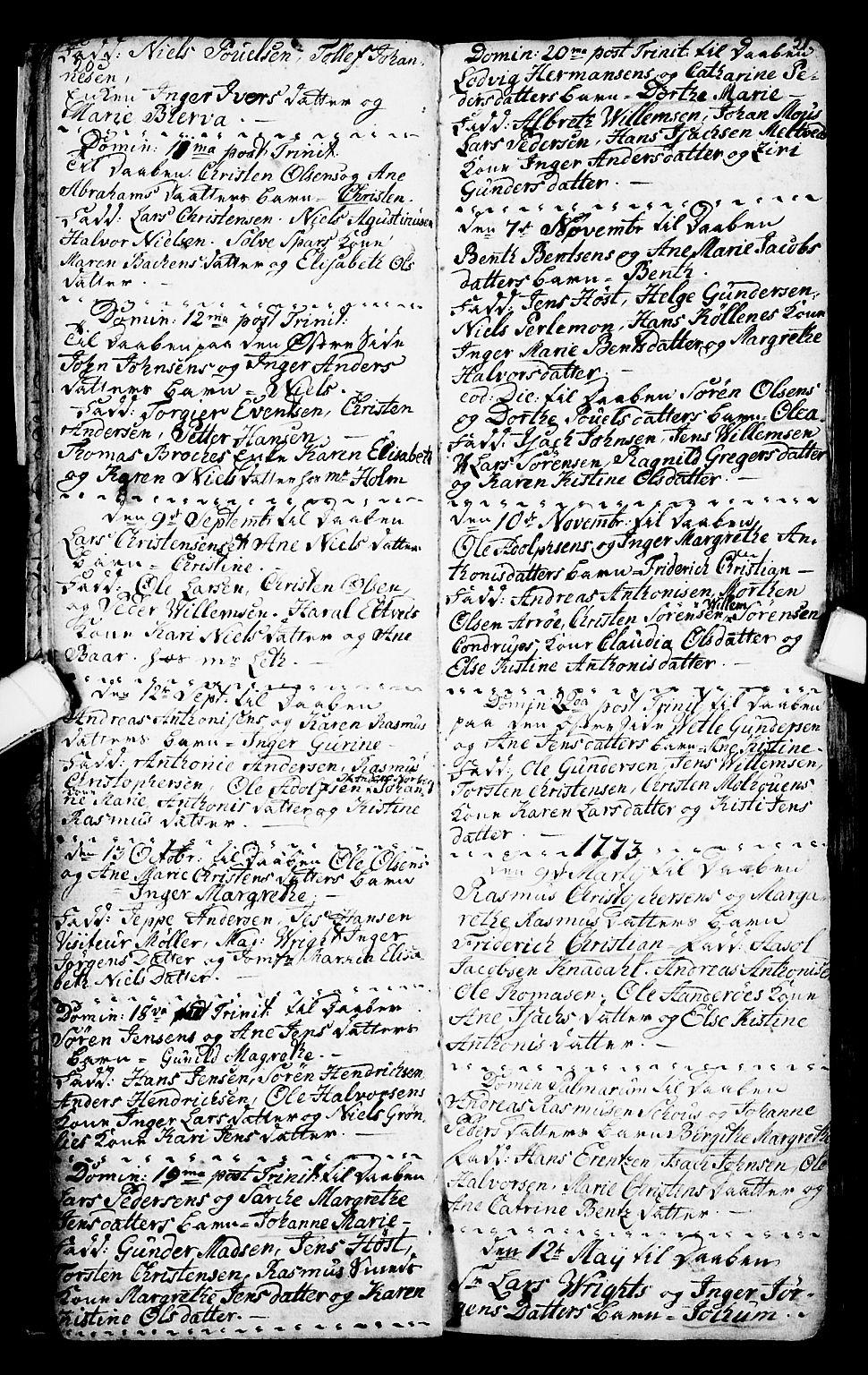 SAKO, Porsgrunn kirkebøker , G/Ga/L0001: Klokkerbok nr. I 1, 1766-1790, s. 20-21