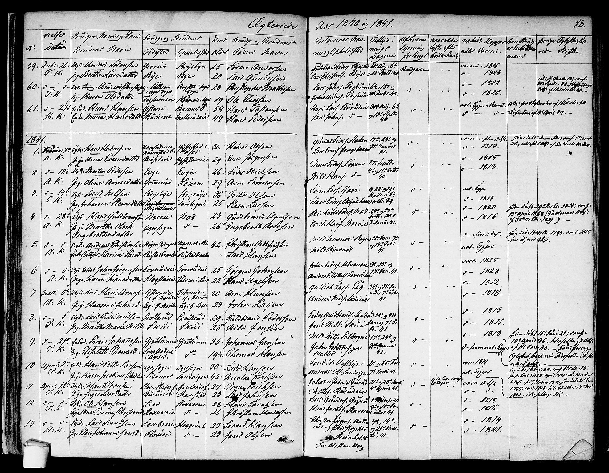 SAO, Asker prestekontor Kirkebøker, F/Fa/L0010: Ministerialbok nr. I 10, 1825-1878, s. 48