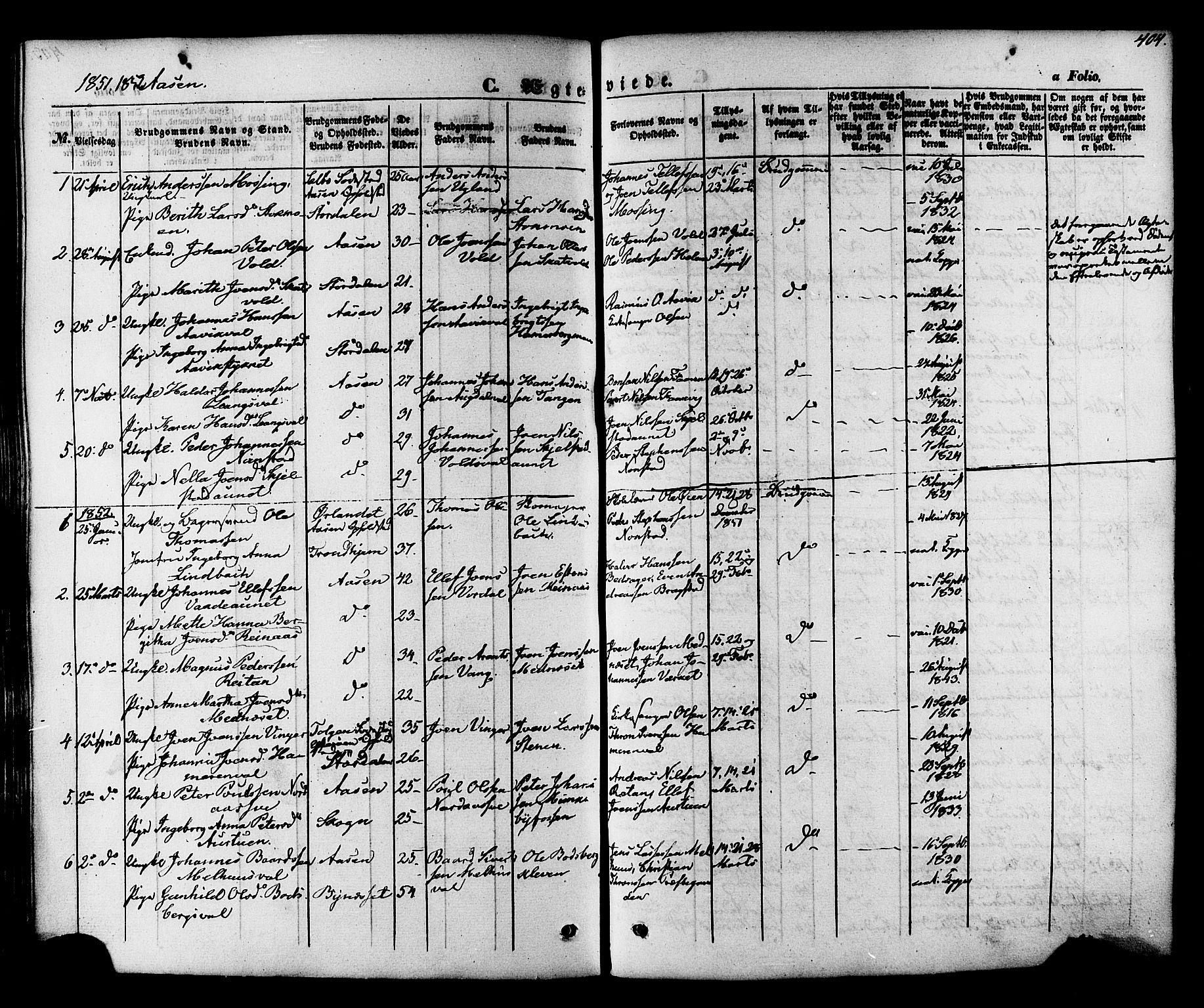 SAT, Ministerialprotokoller, klokkerbøker og fødselsregistre - Nord-Trøndelag, 713/L0116: Ministerialbok nr. 713A07, 1850-1877, s. 404