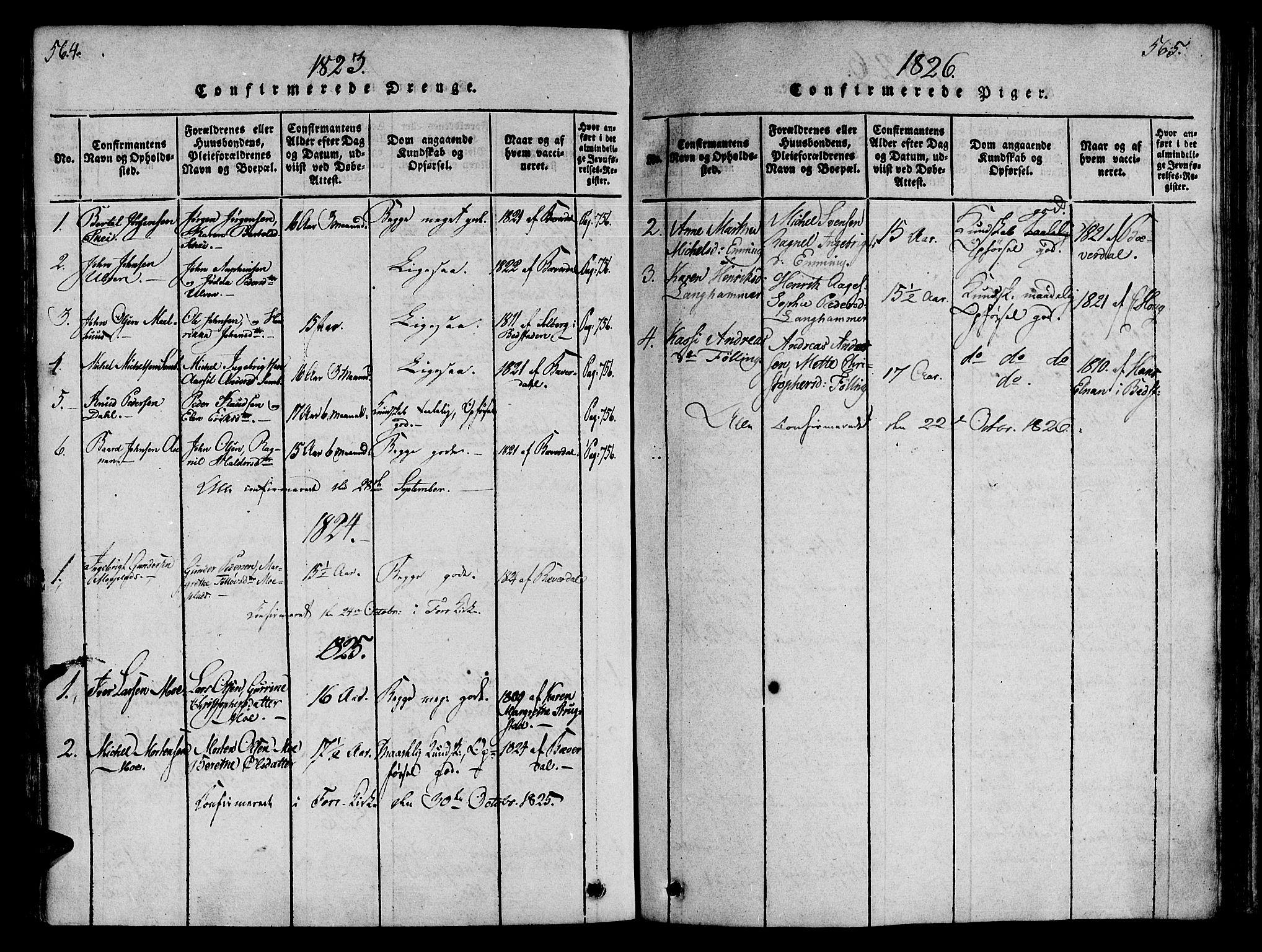 SAT, Ministerialprotokoller, klokkerbøker og fødselsregistre - Nord-Trøndelag, 746/L0441: Ministerialbok nr. 746A03 /4, 1816-1827, s. 564-565