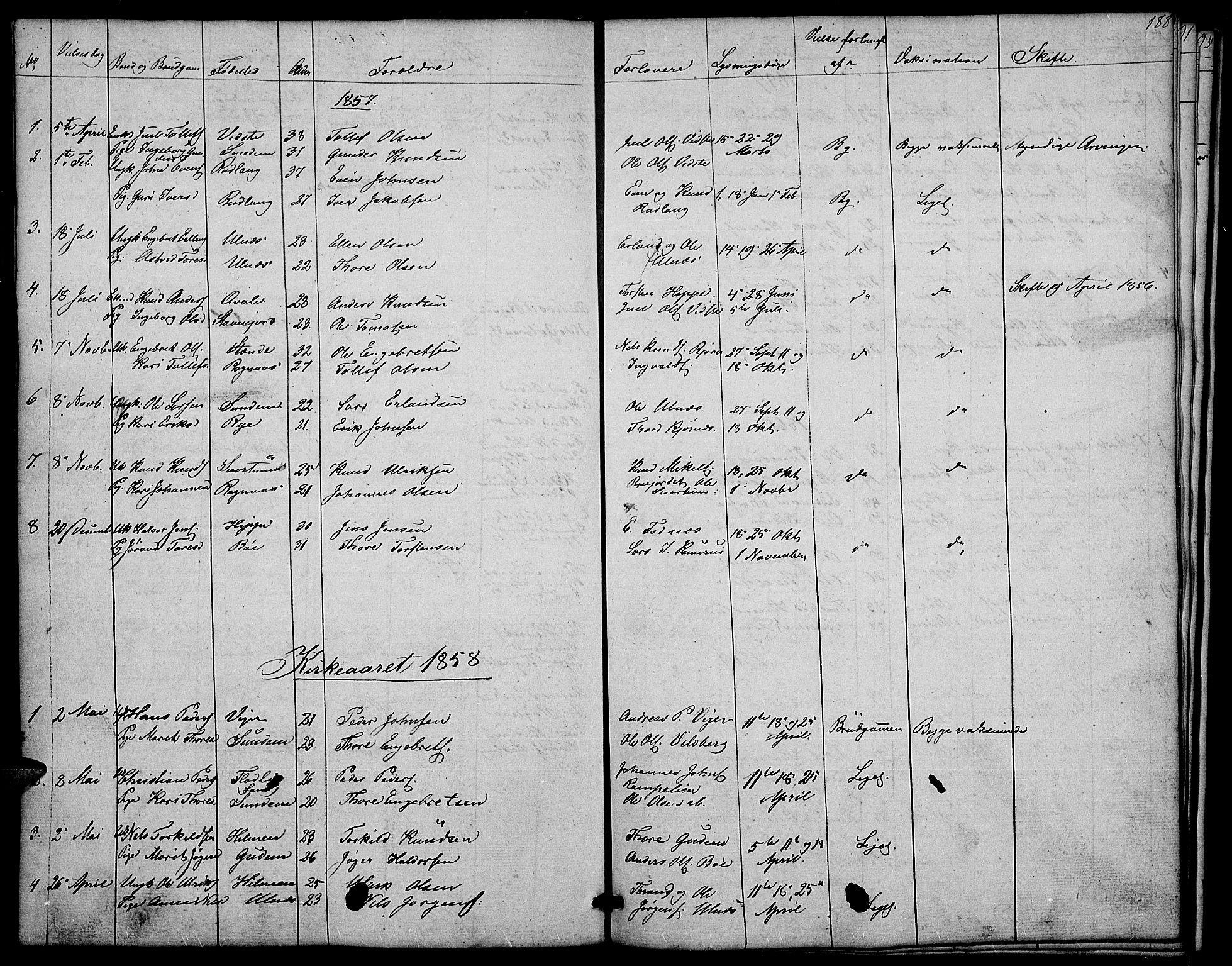 SAH, Nord-Aurdal prestekontor, Klokkerbok nr. 4, 1842-1882, s. 188