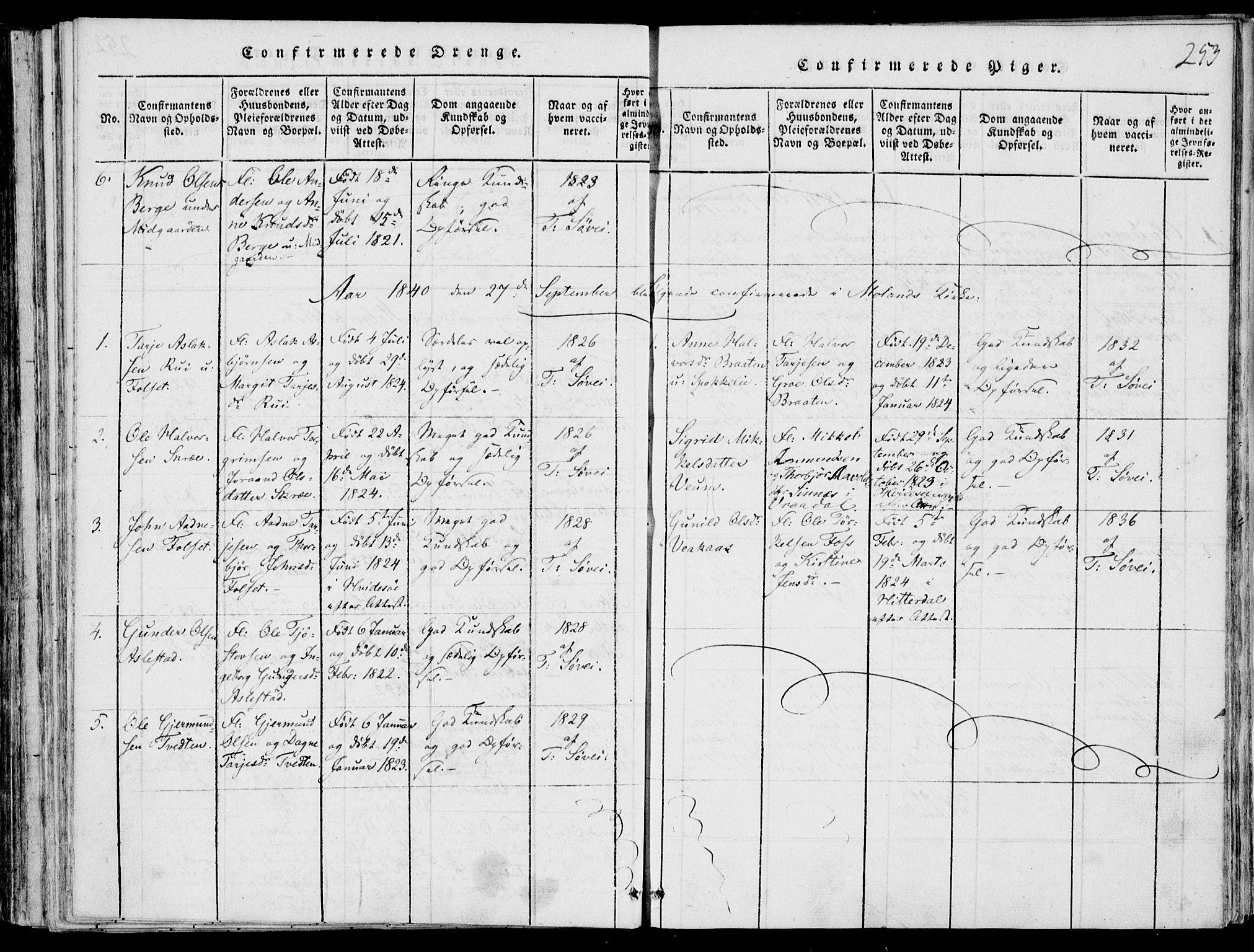 SAKO, Fyresdal kirkebøker, F/Fb/L0001: Ministerialbok nr. II 1, 1815-1854, s. 253