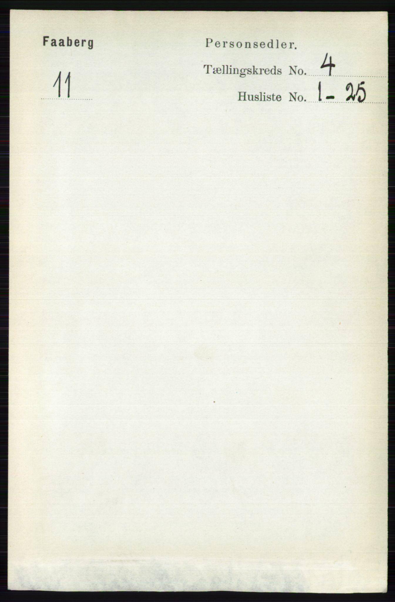 RA, Folketelling 1891 for 0524 Fåberg herred, 1891, s. 1222