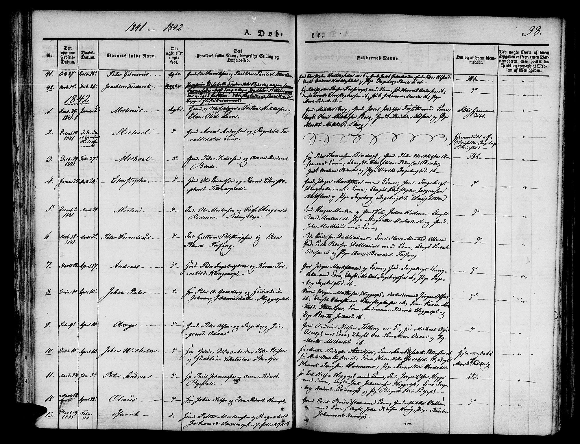 SAT, Ministerialprotokoller, klokkerbøker og fødselsregistre - Nord-Trøndelag, 746/L0445: Ministerialbok nr. 746A04, 1826-1846, s. 38