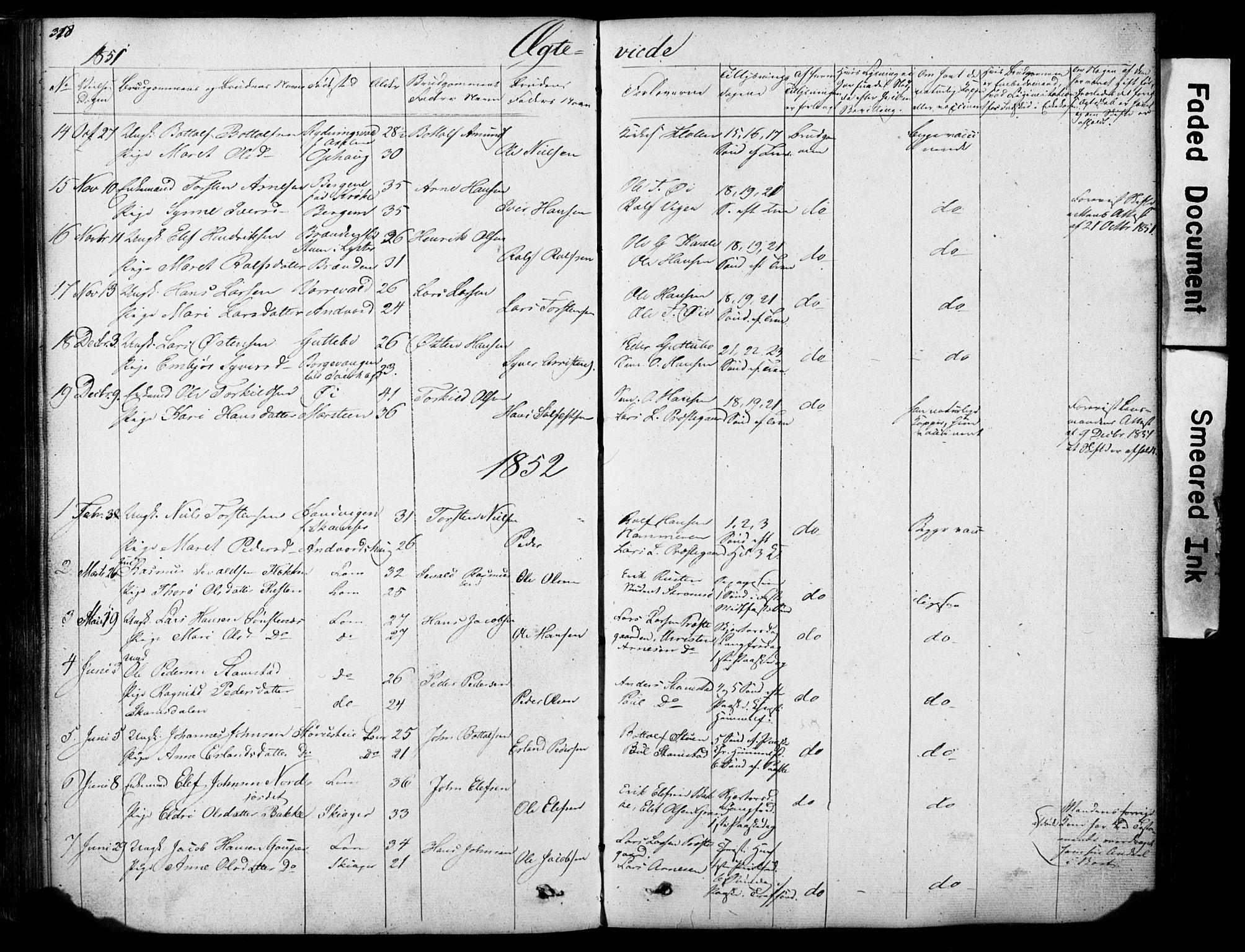 SAH, Lom prestekontor, L/L0012: Klokkerbok nr. 12, 1845-1873, s. 318-319
