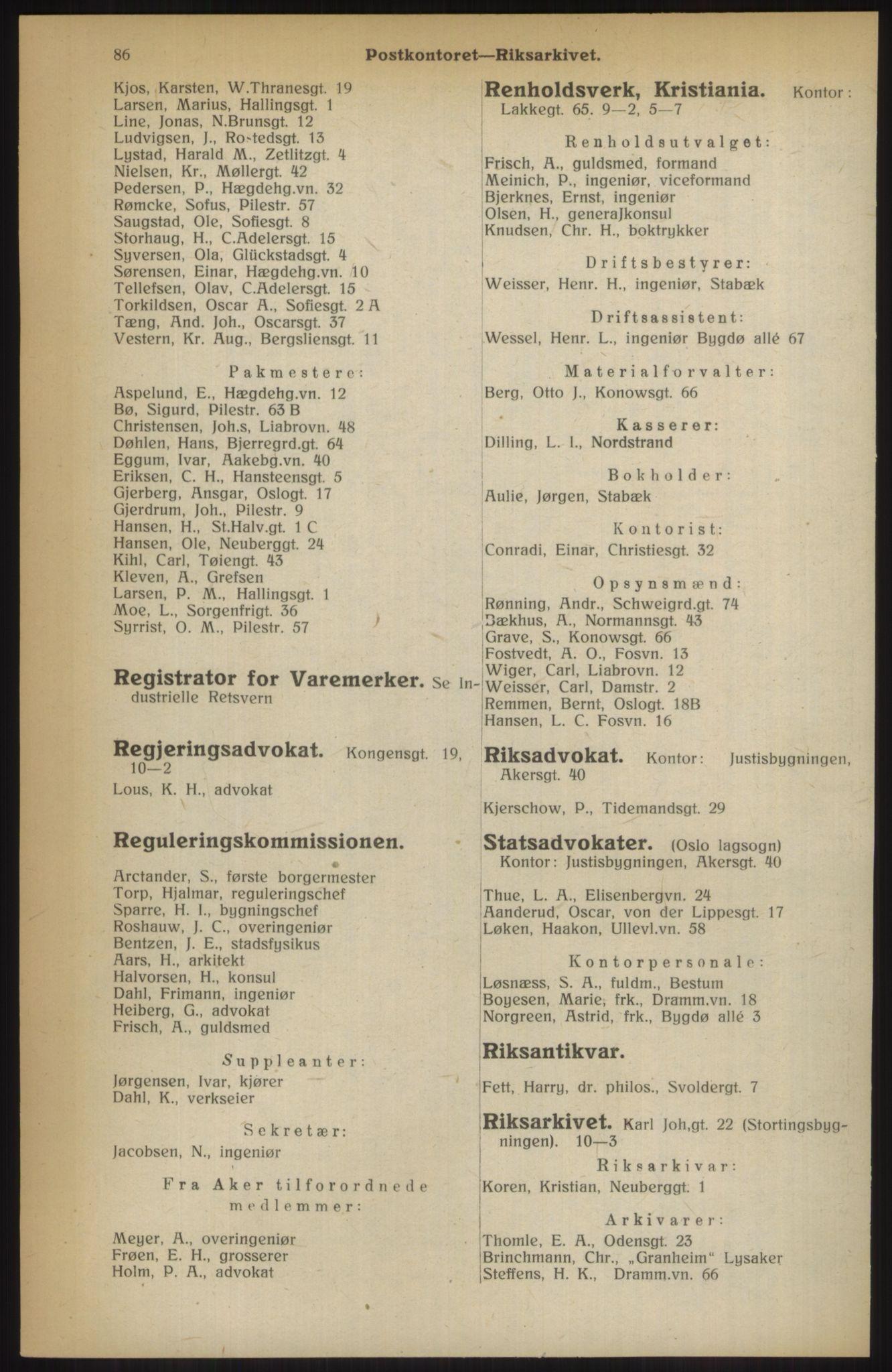RA, Kristiania adressebok (publikasjon)*, 1914, s. 86