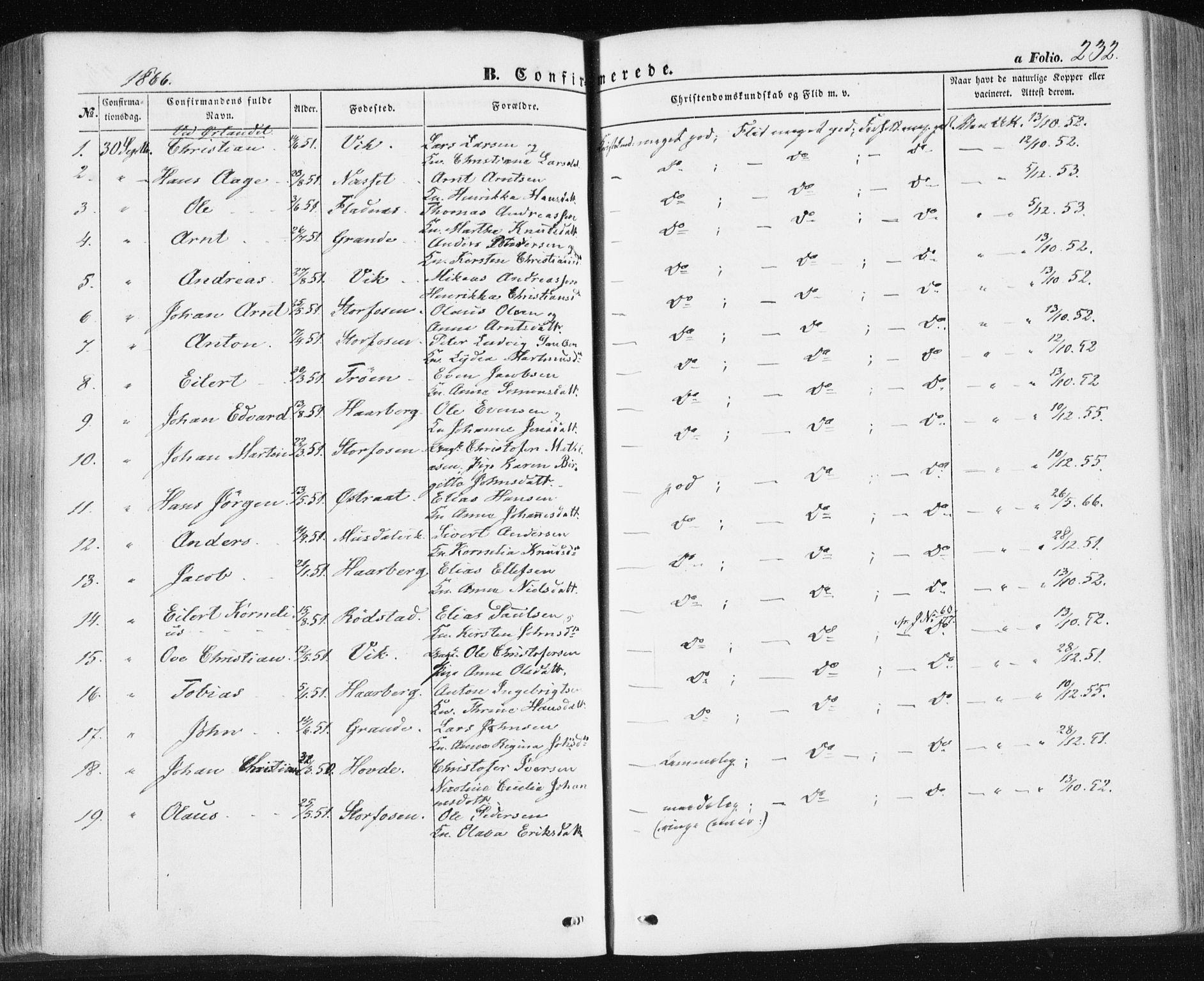 SAT, Ministerialprotokoller, klokkerbøker og fødselsregistre - Sør-Trøndelag, 659/L0737: Ministerialbok nr. 659A07, 1857-1875, s. 232